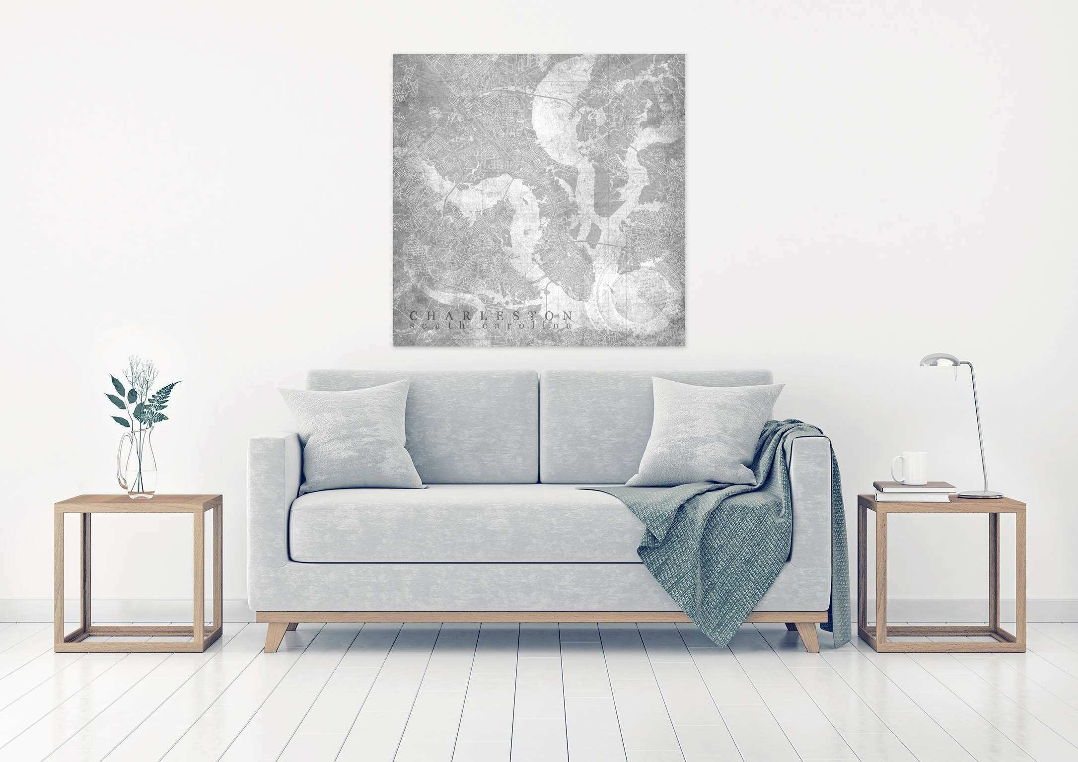 CHARLESTON SC Canvas Print South Carolina Vintage map Charleston