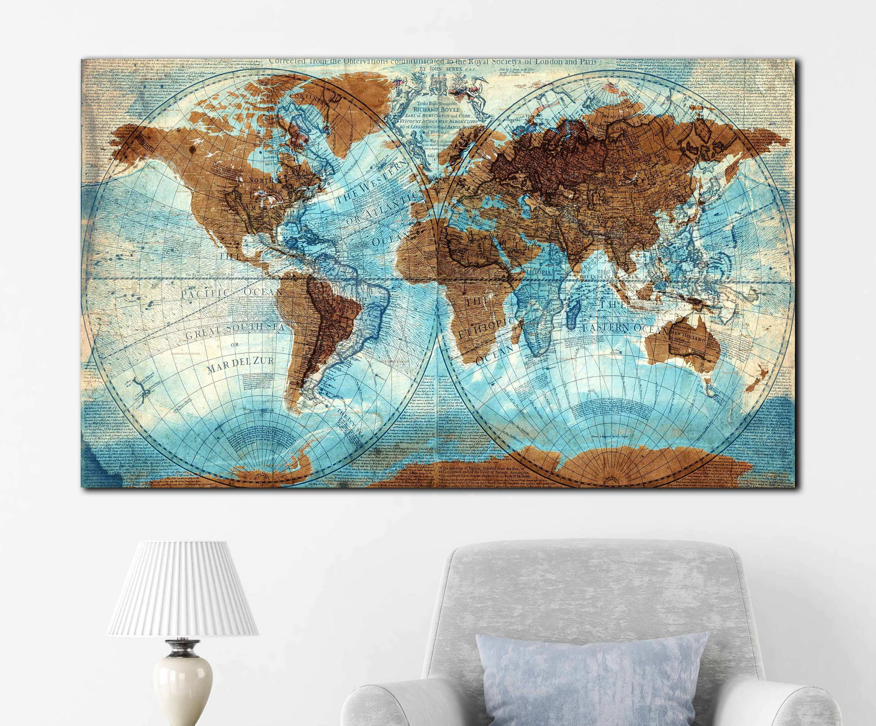 Vintage world map mixed with new world very detailed vintage world