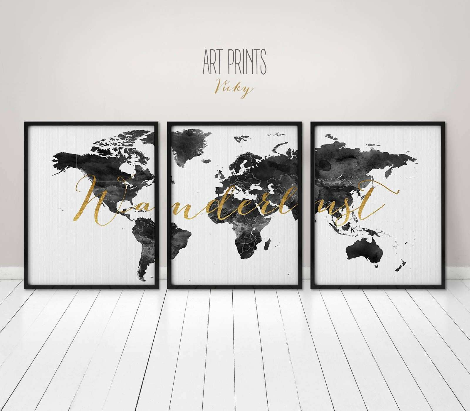 Wanderlust Black and White World map poster 3 pieces world map
