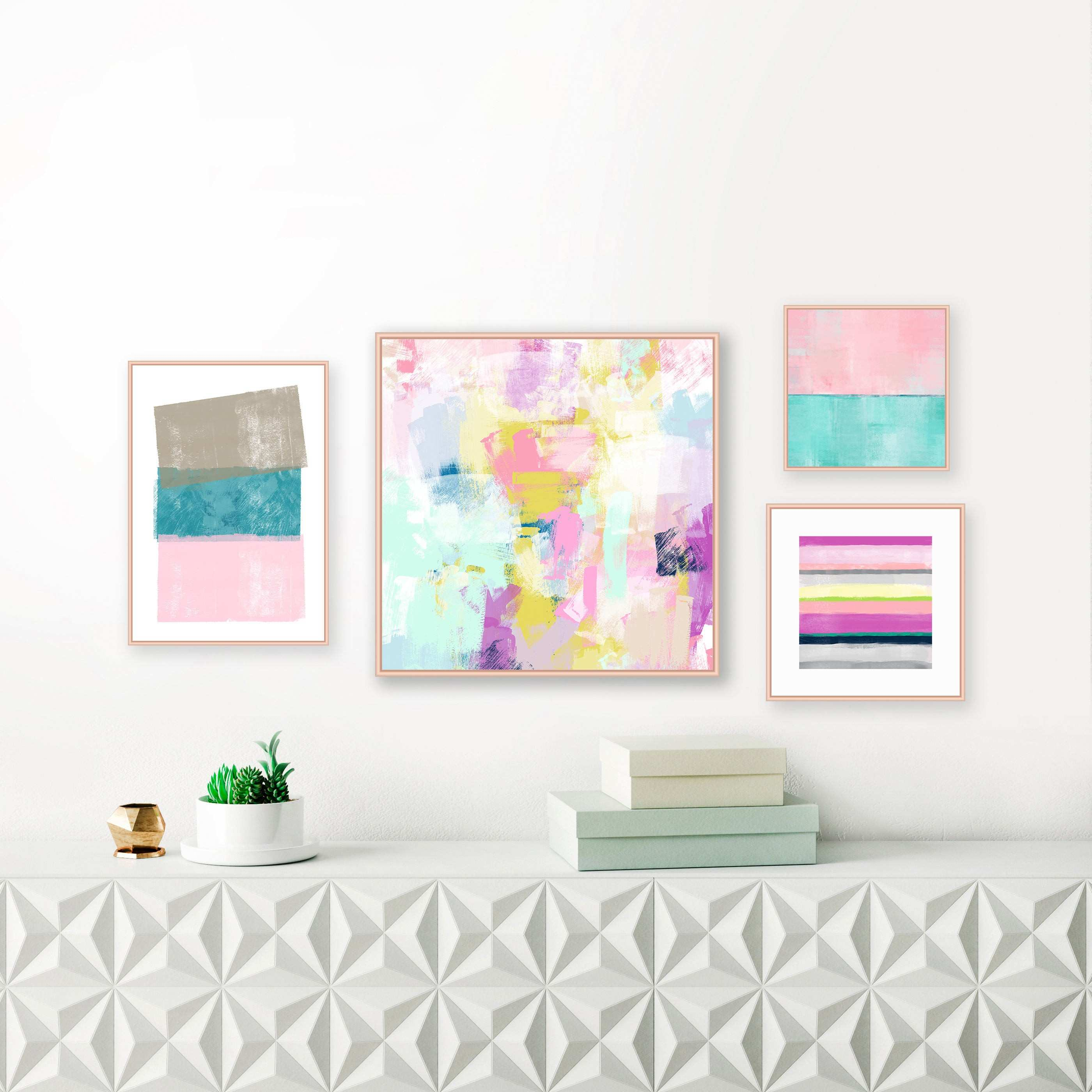 A Set of 4 Gallery Wall Art Prints Pastel and Jewel Tone Paintings