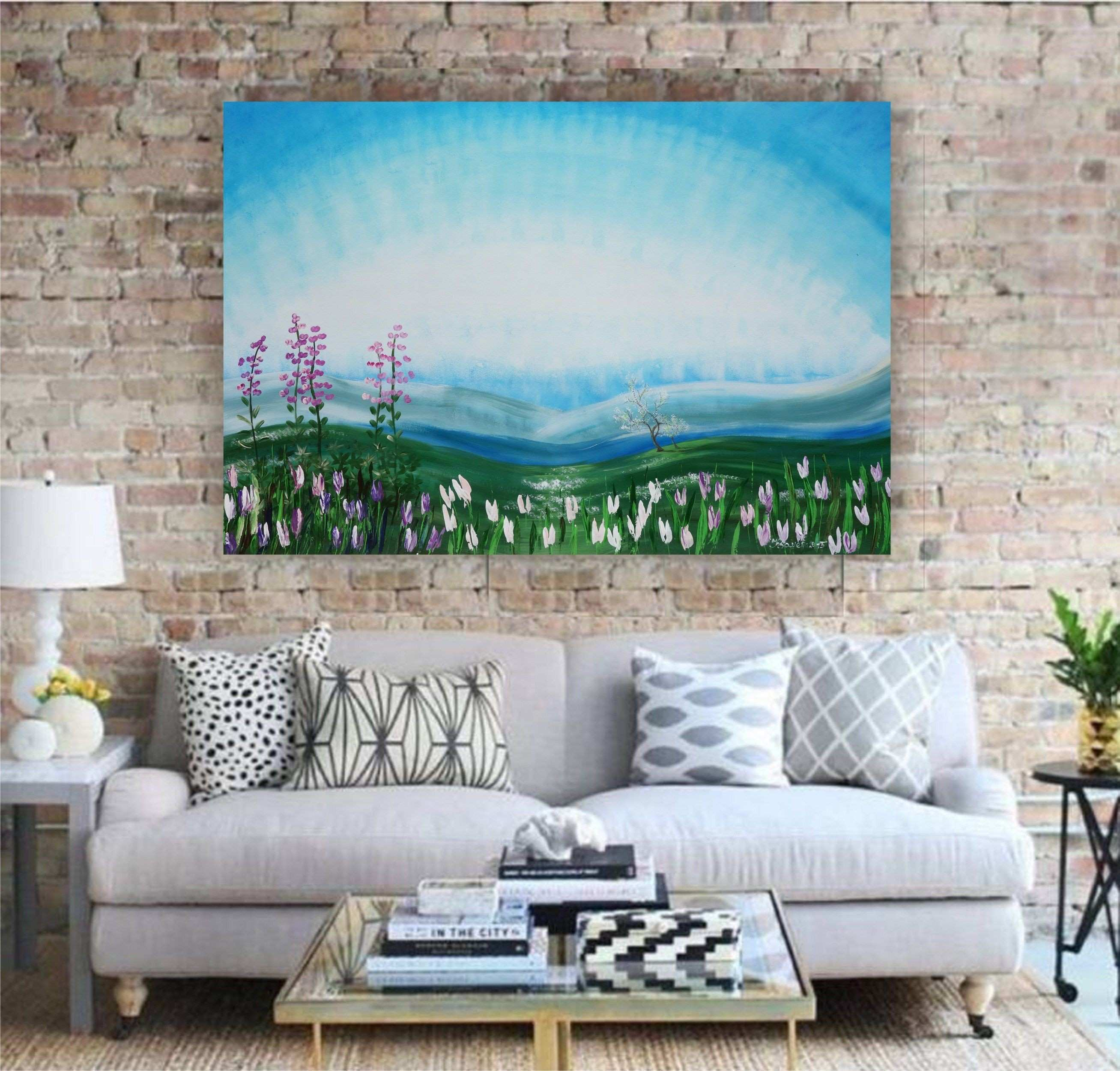 """Alaska spring painting wall art on canvas """"Spring 42"""" white"""