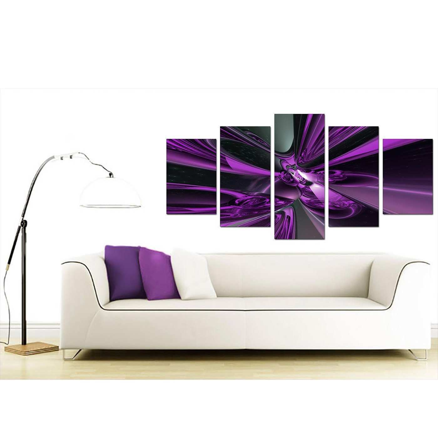 Extra Purple Abstract Canvas Prints UK 5 Piece