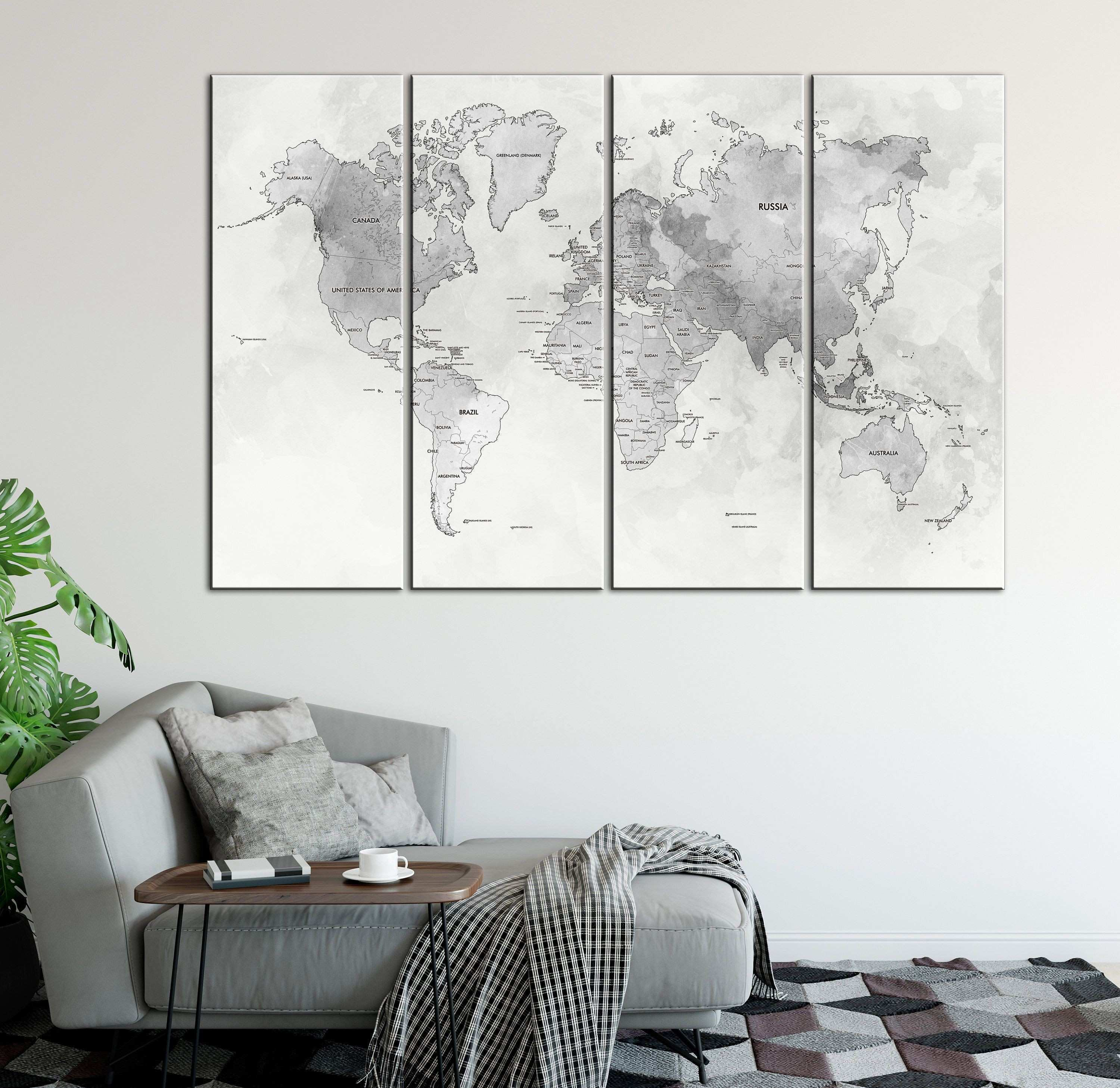 Grey Detailed world map wall art with countries names canvas print