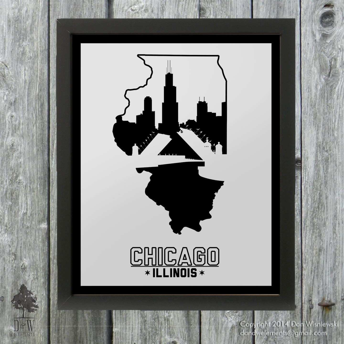 Chigago Illinois Skyline Poster Print Wall Art Choose a Size