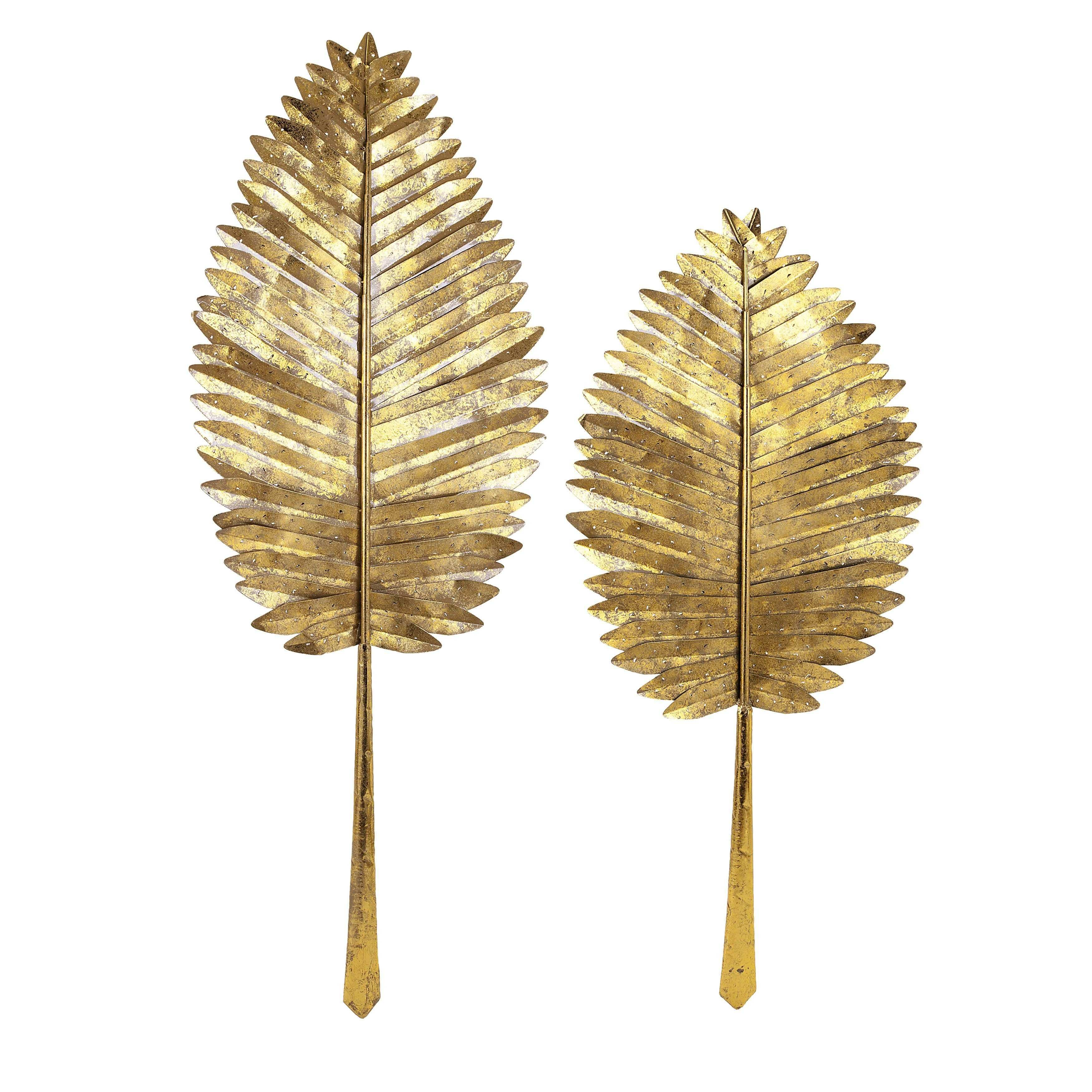Milano Gold Leaf Wall Leaves Set of 2 Overstock Shopping Great