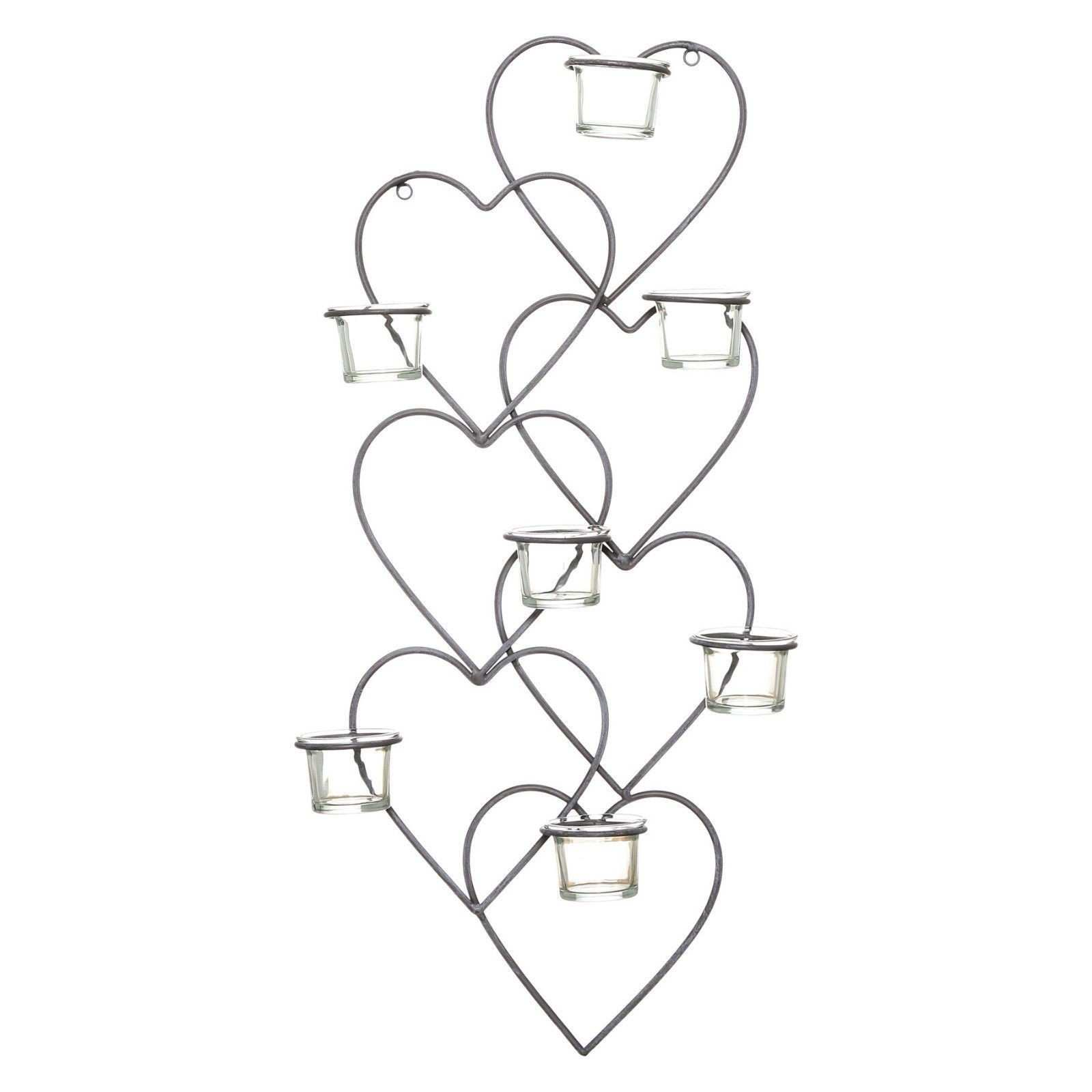 Candle Wall Decor Best 62cm Vintage Metal & Glass Love Heart Tea