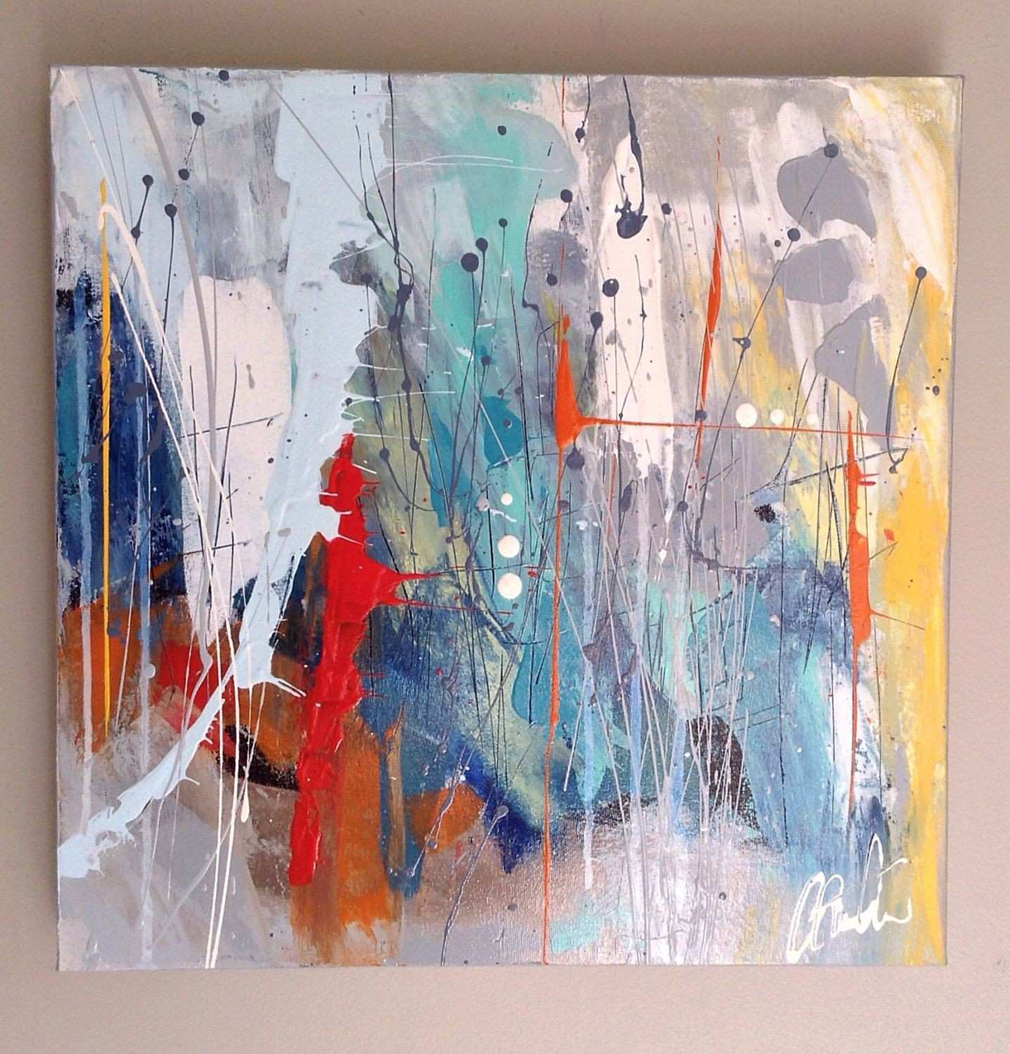 Abstract art abstract painting ikouart square canvas wall art