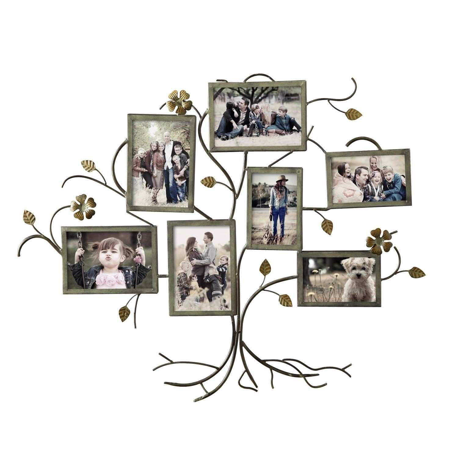 Adeco Trading 7 Opening Decorative Bronze Color Iron Family Tree