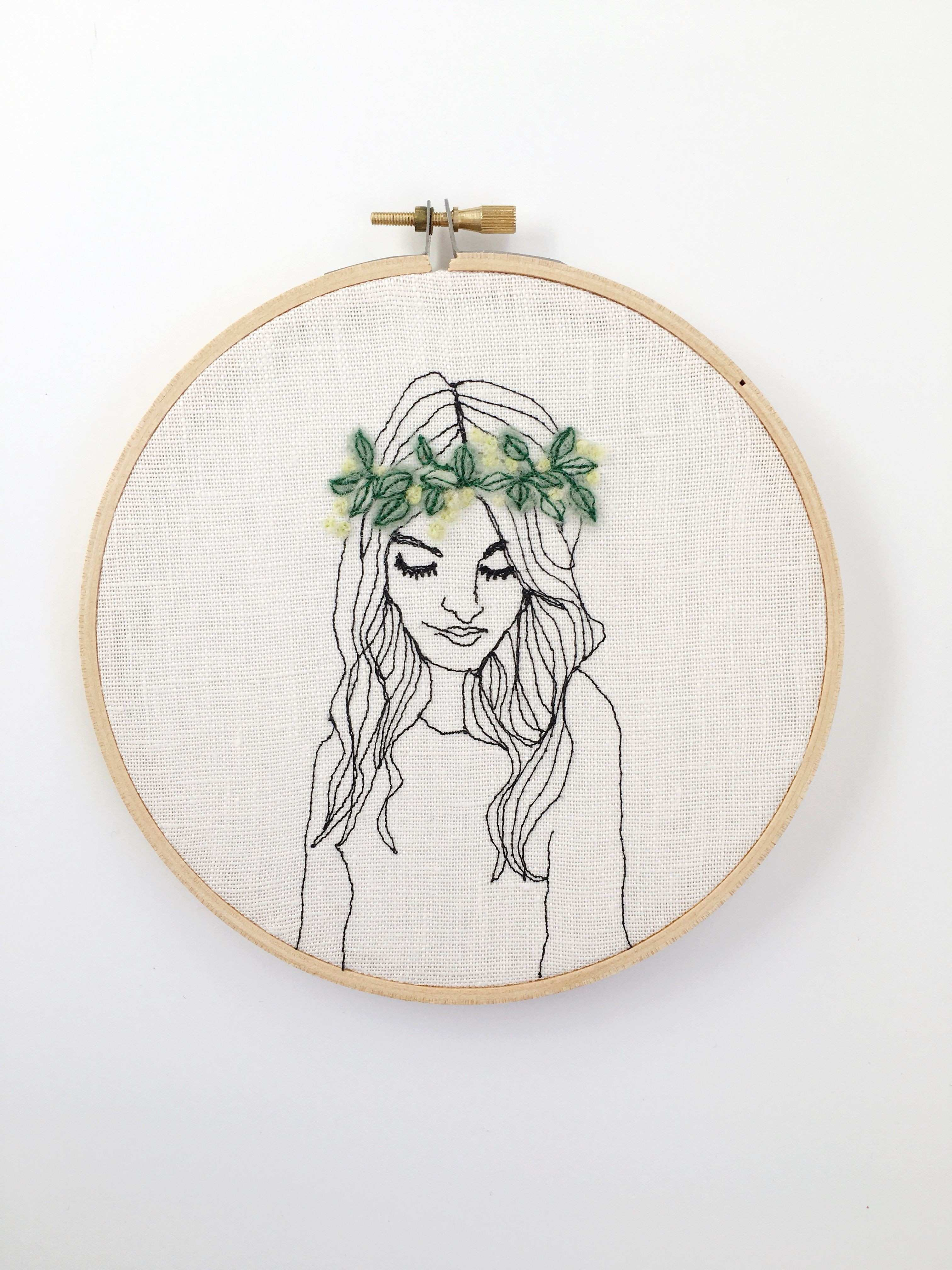 wall decor portrait art Embroidered needle felted hippie decor wall