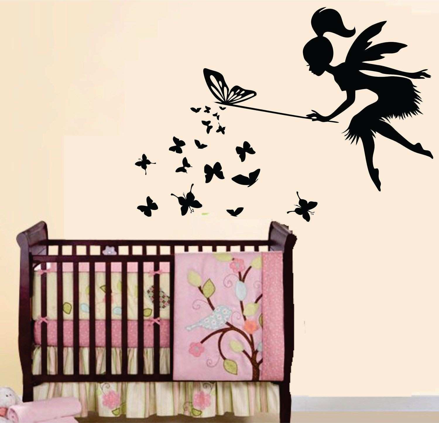 Vinyl Wall Decal Baby Nursery Kids Room Butterfly Fairy 0265
