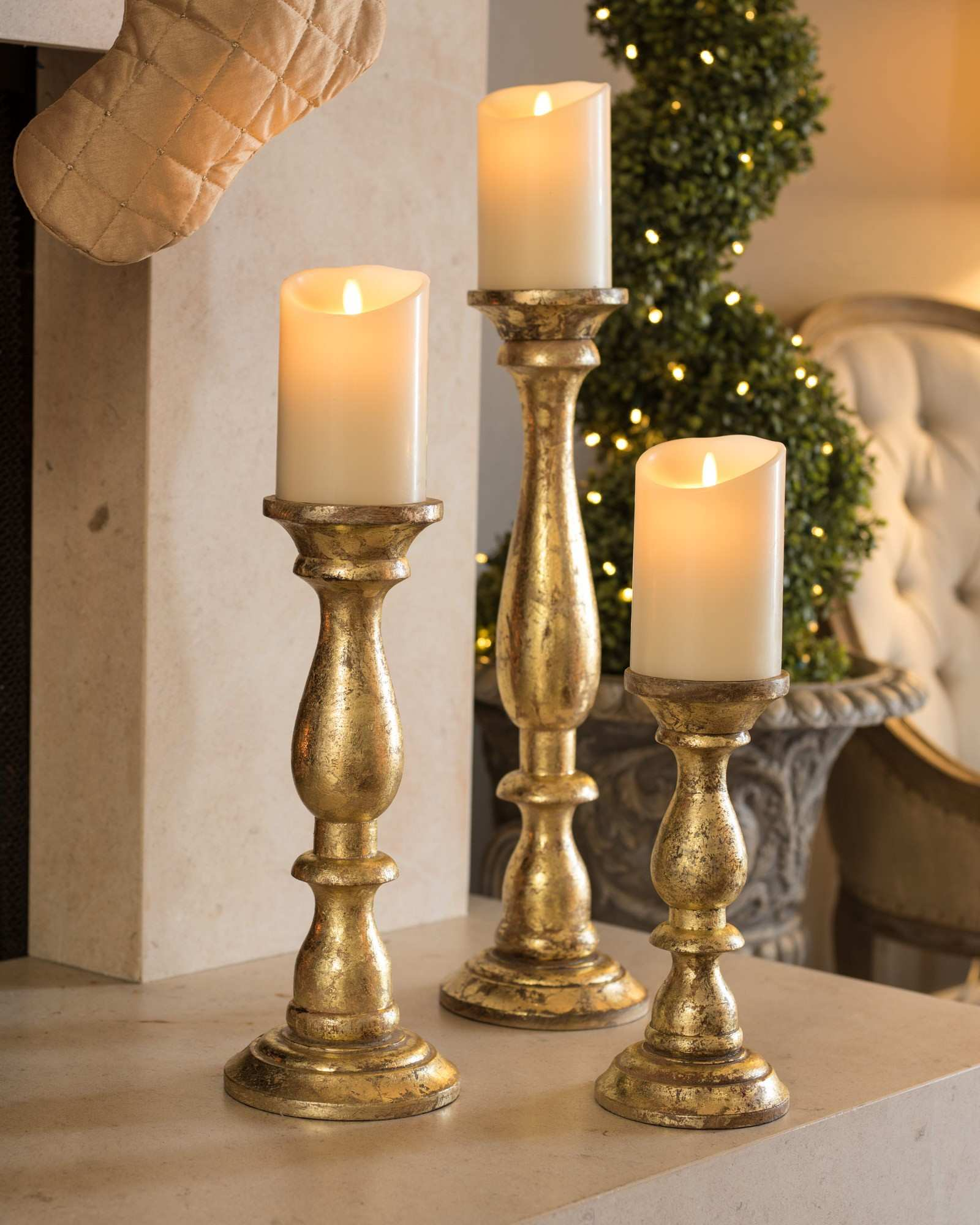 Golden Wood Pillar Candle Holders Balsam Hill Inspiration Candle