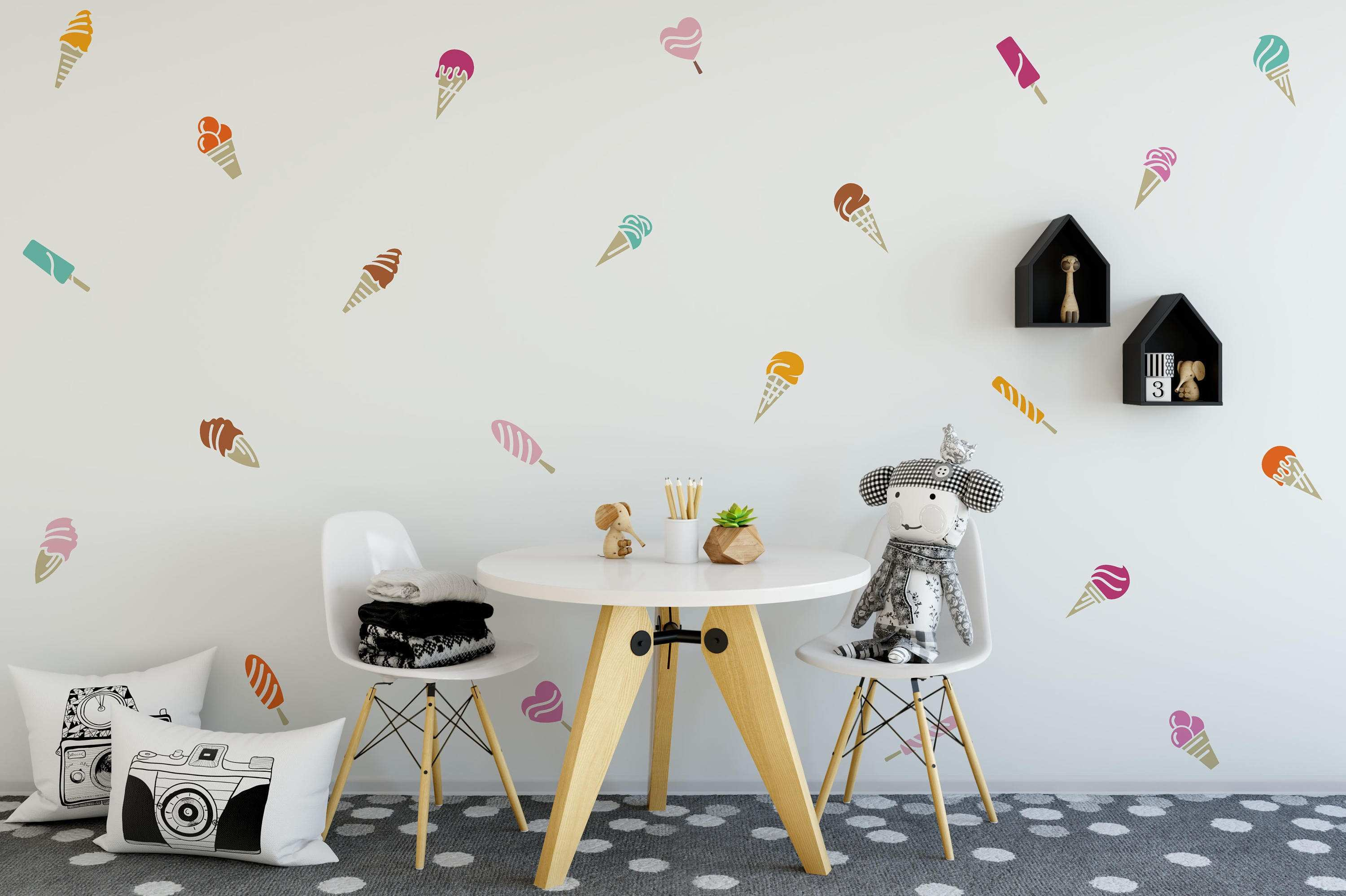 Ice Cream Wall Decal 22 colorful Ice Cream Pattern Kids Room