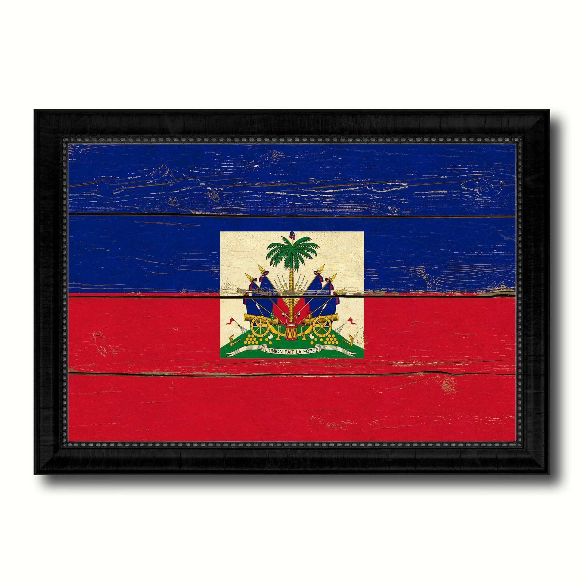Haiti Country Flag Vintage Canvas Print with Black Picture Frame