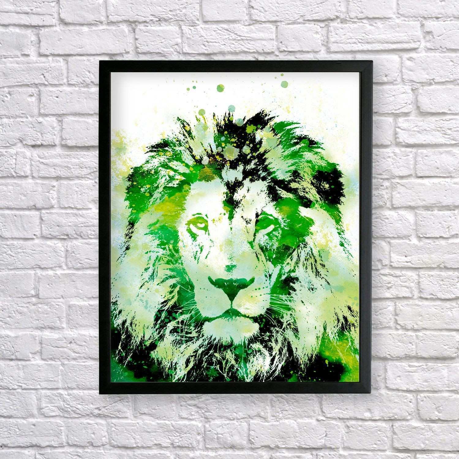 Green Lion watercolor Lion Art African Art Lion Poster Green