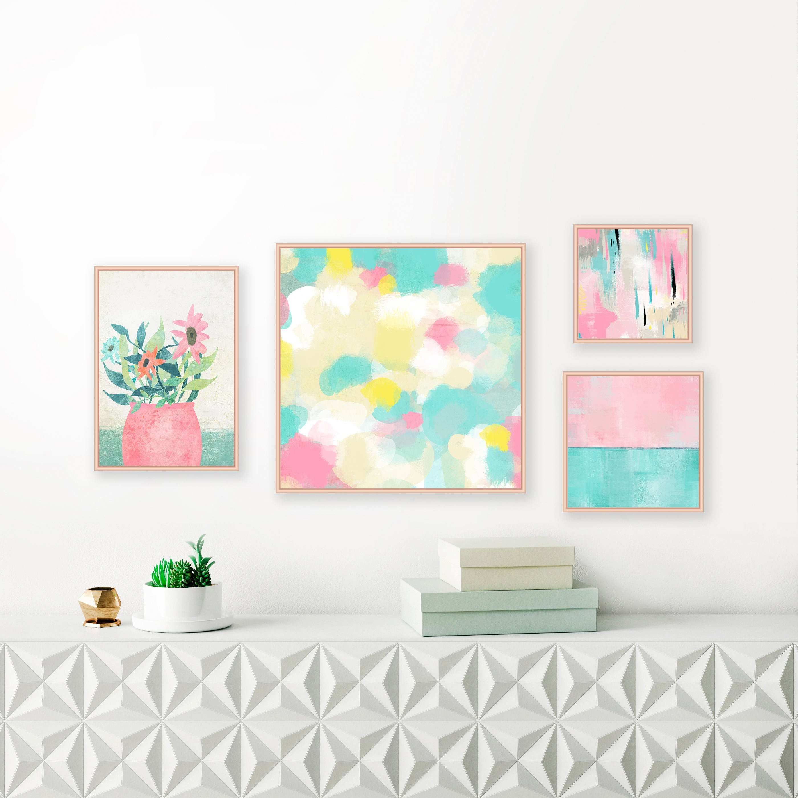 Gallery Wall Art Set of 4 Abstract Art Prints Pastel Paintings