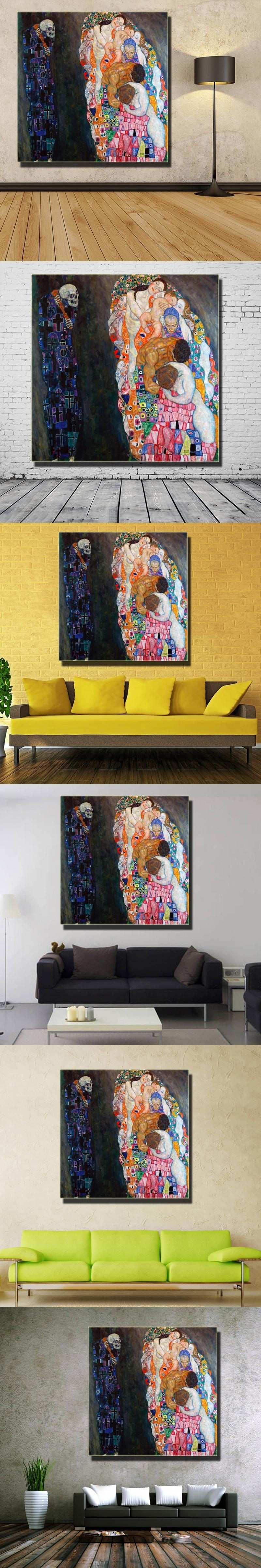 Original wall picture gustav klimt Death and Life wall painting for