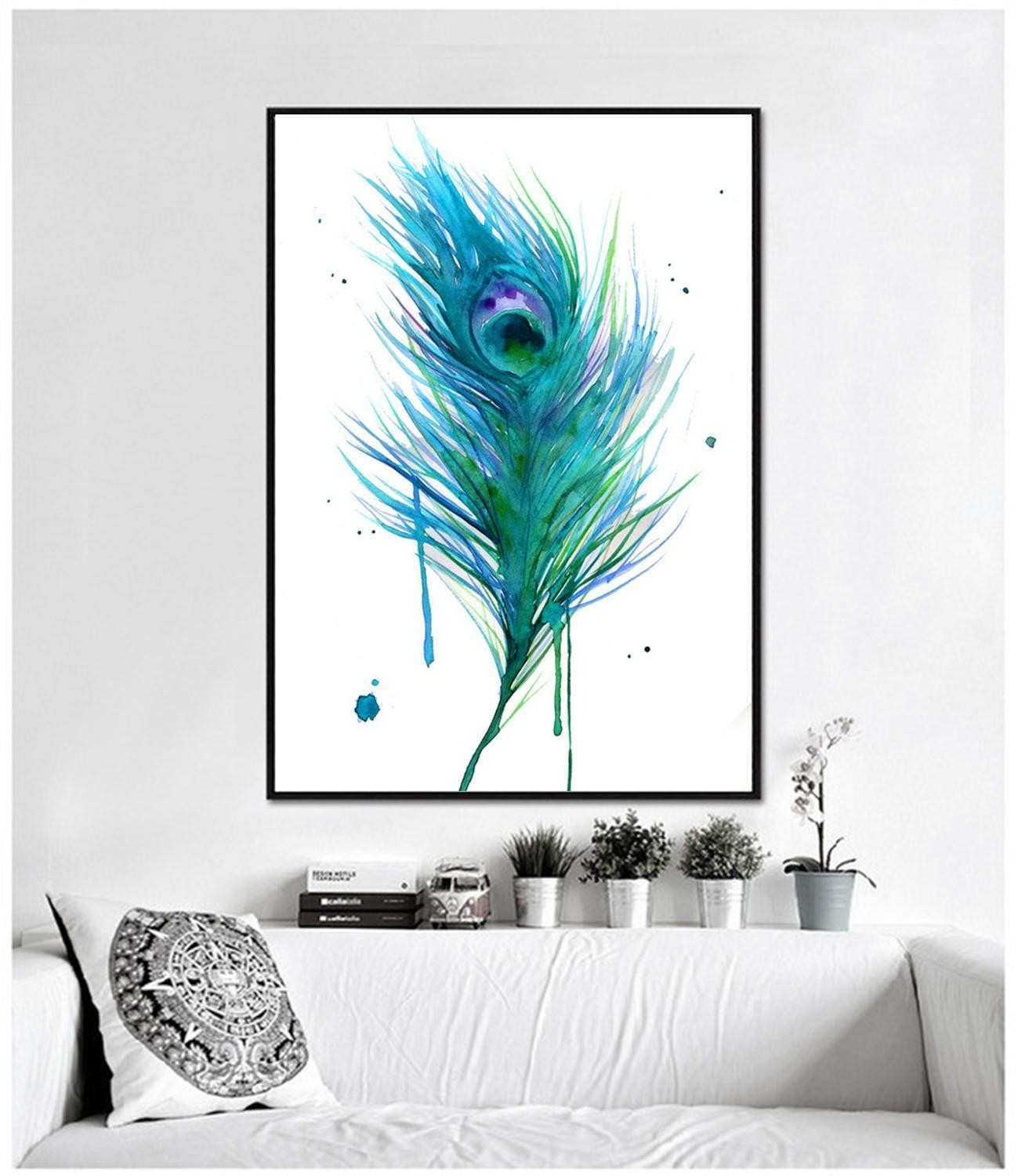 Wall Decor Abstract Canvas HD Printing Modern Poster No Frame Painting For Living Room Peacock Beautiful Peacock Feathers in Painting & Calligraphy