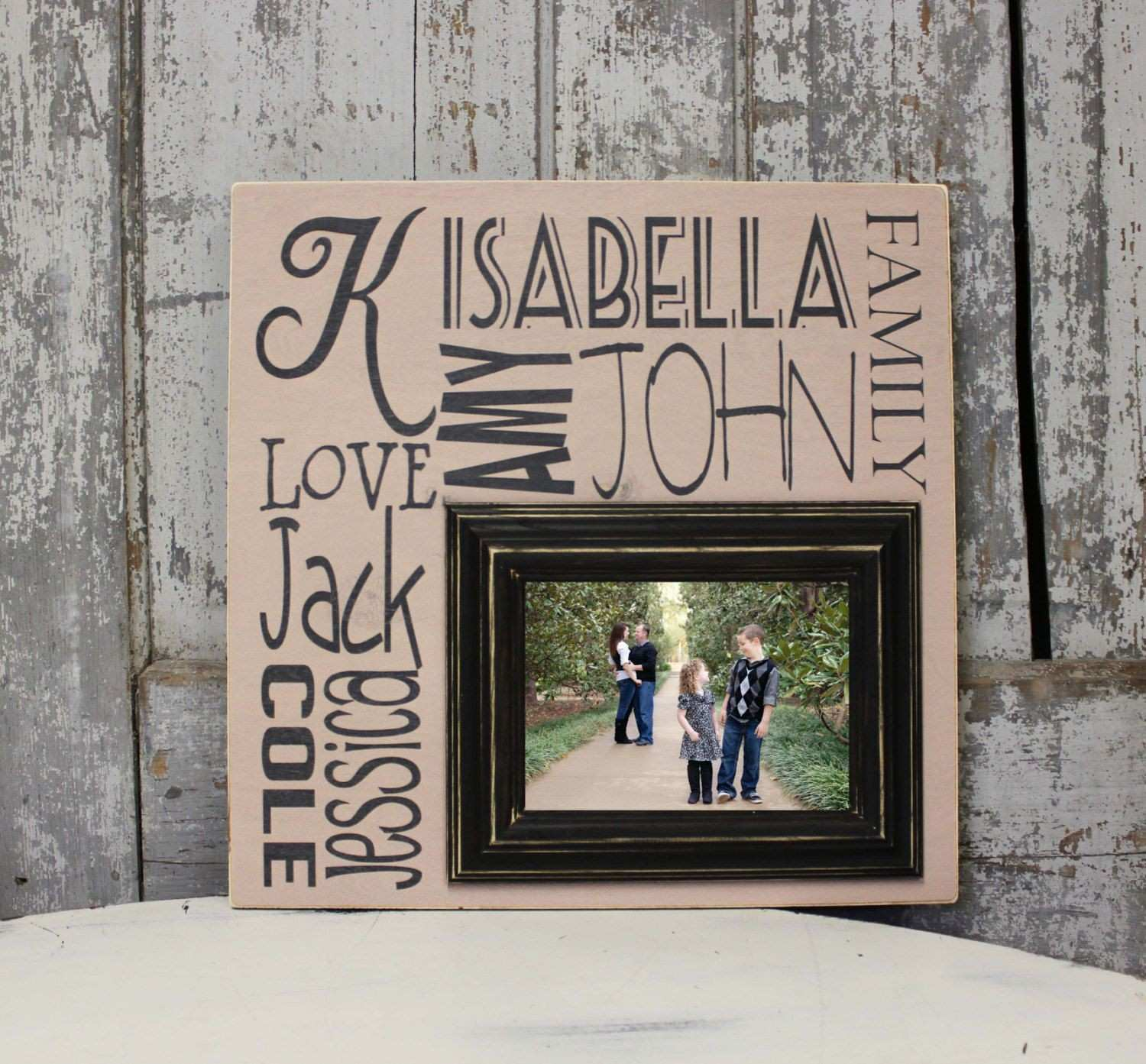 Family Tree Picture Frame on Wood Family Established Picture