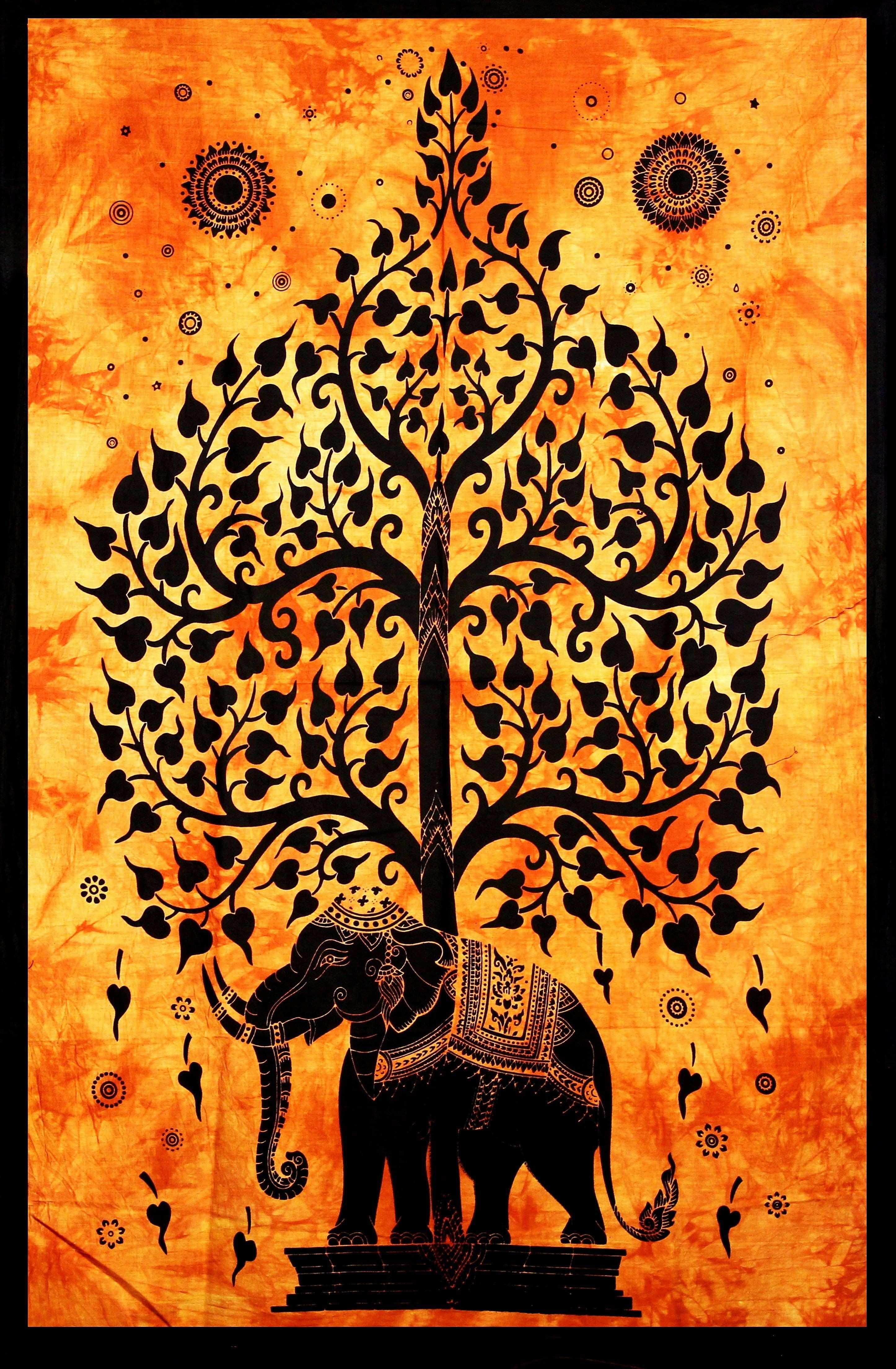 Hand printed Mini Elephant Tree of Life Tapestry Wall Hanging