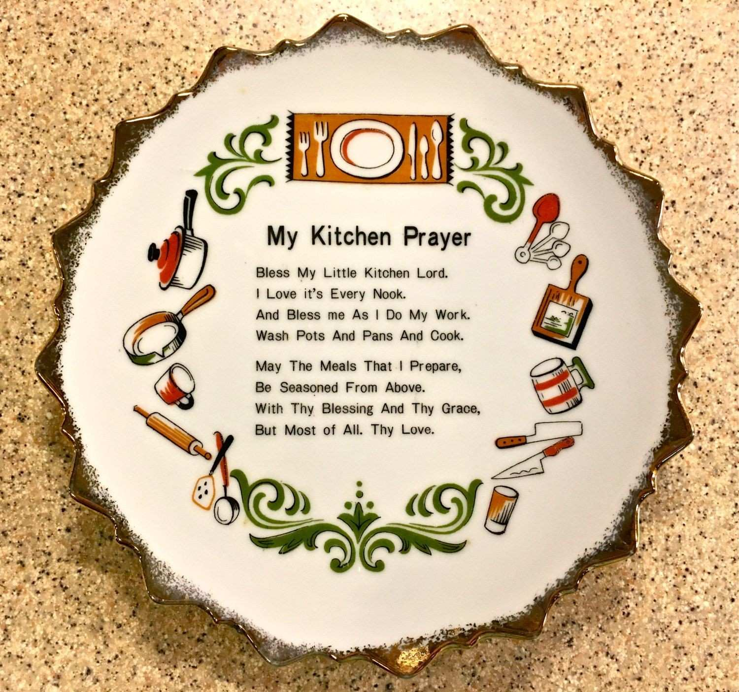 Wall Hanging Decor Lovely Sweet Vintage Kitchen Prayer Plate Home Decor Wall Hanging by