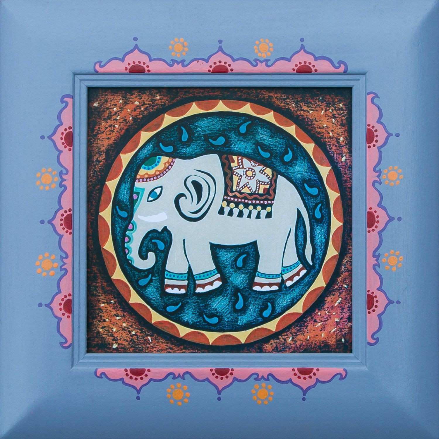 The Little Elephant mandala small wooden frame abstract