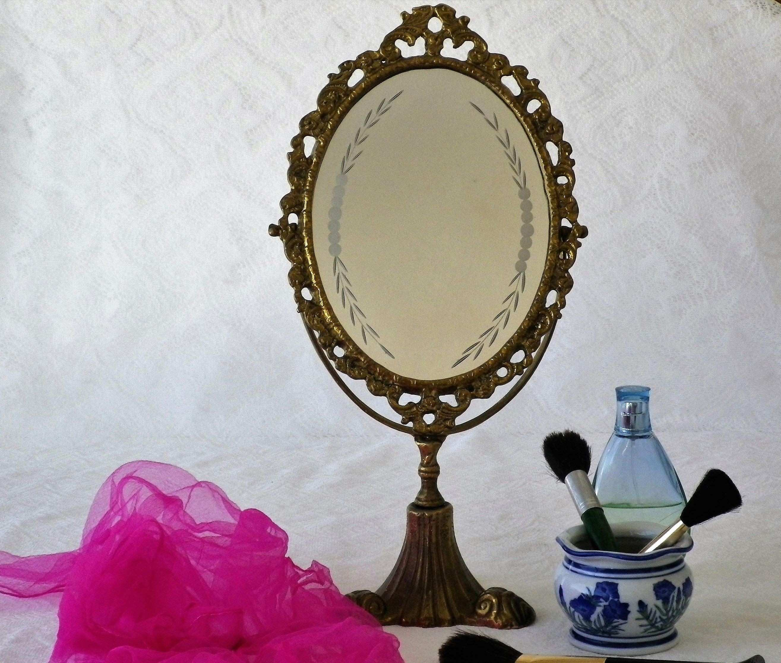 Adjustable Mirror Elegant Brass Oval Vanity Mirror with original