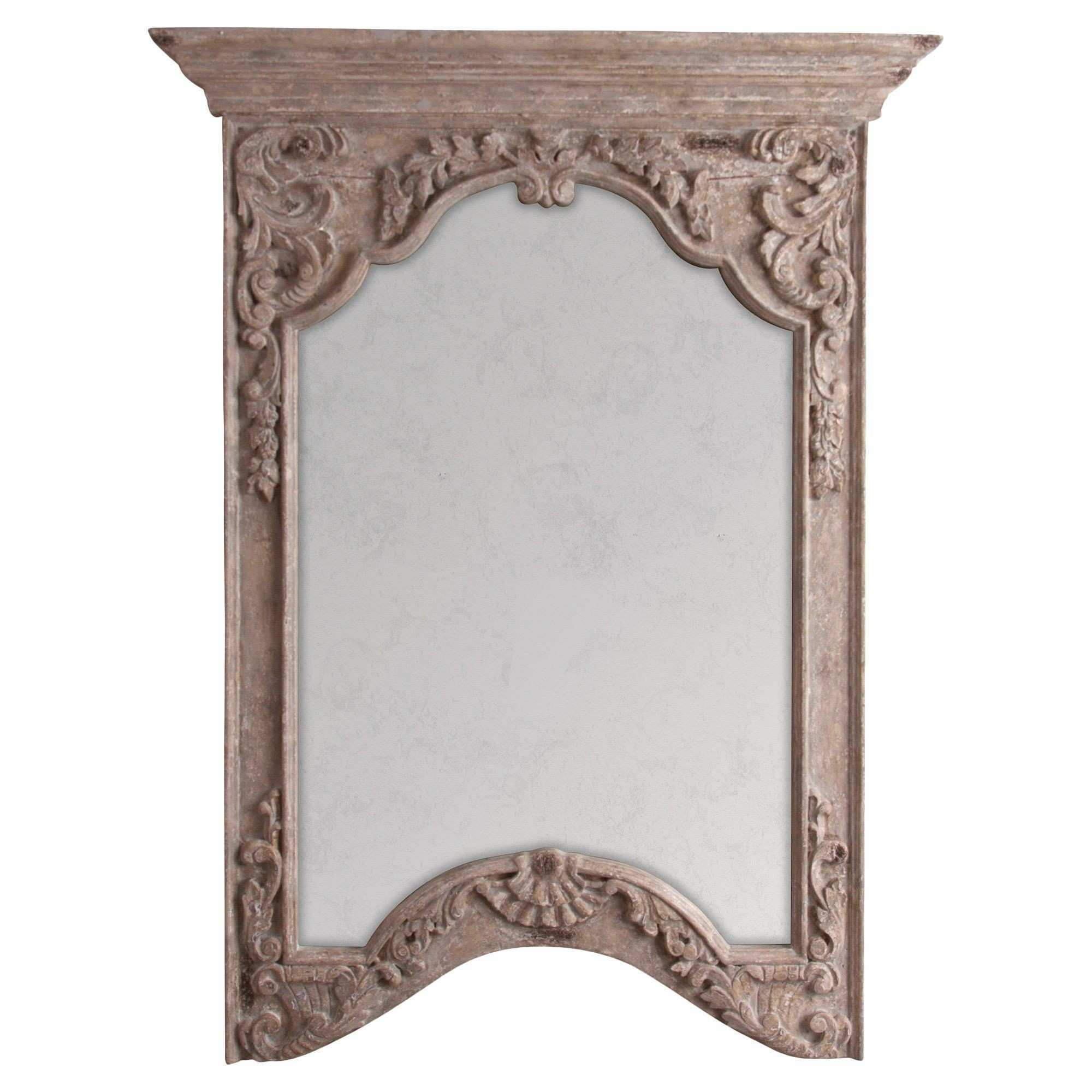 Brunelle French Taupe Antique Finish Floral Relief Wall Mirror