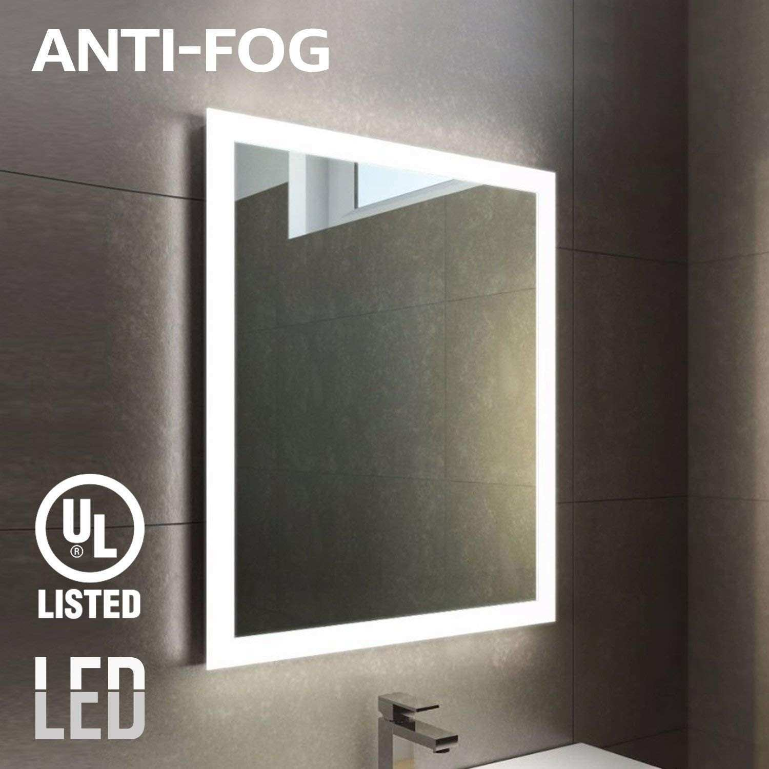 Amazon Fogless LED Lighted Makeup Mirror with Backlit Strip UL