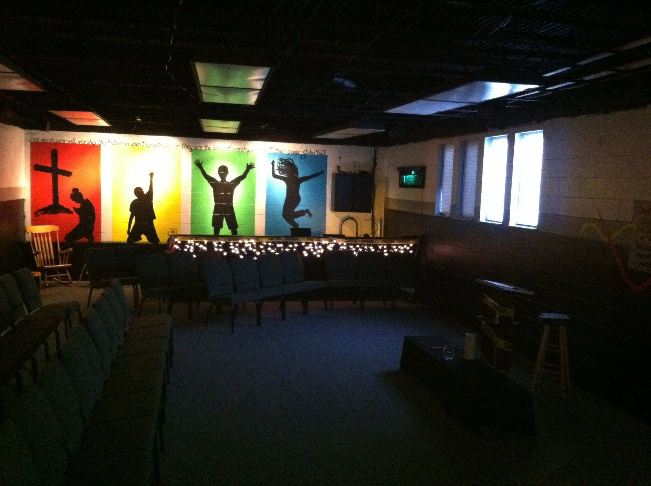 Wall Mural and sound booth Youth Ministry Church