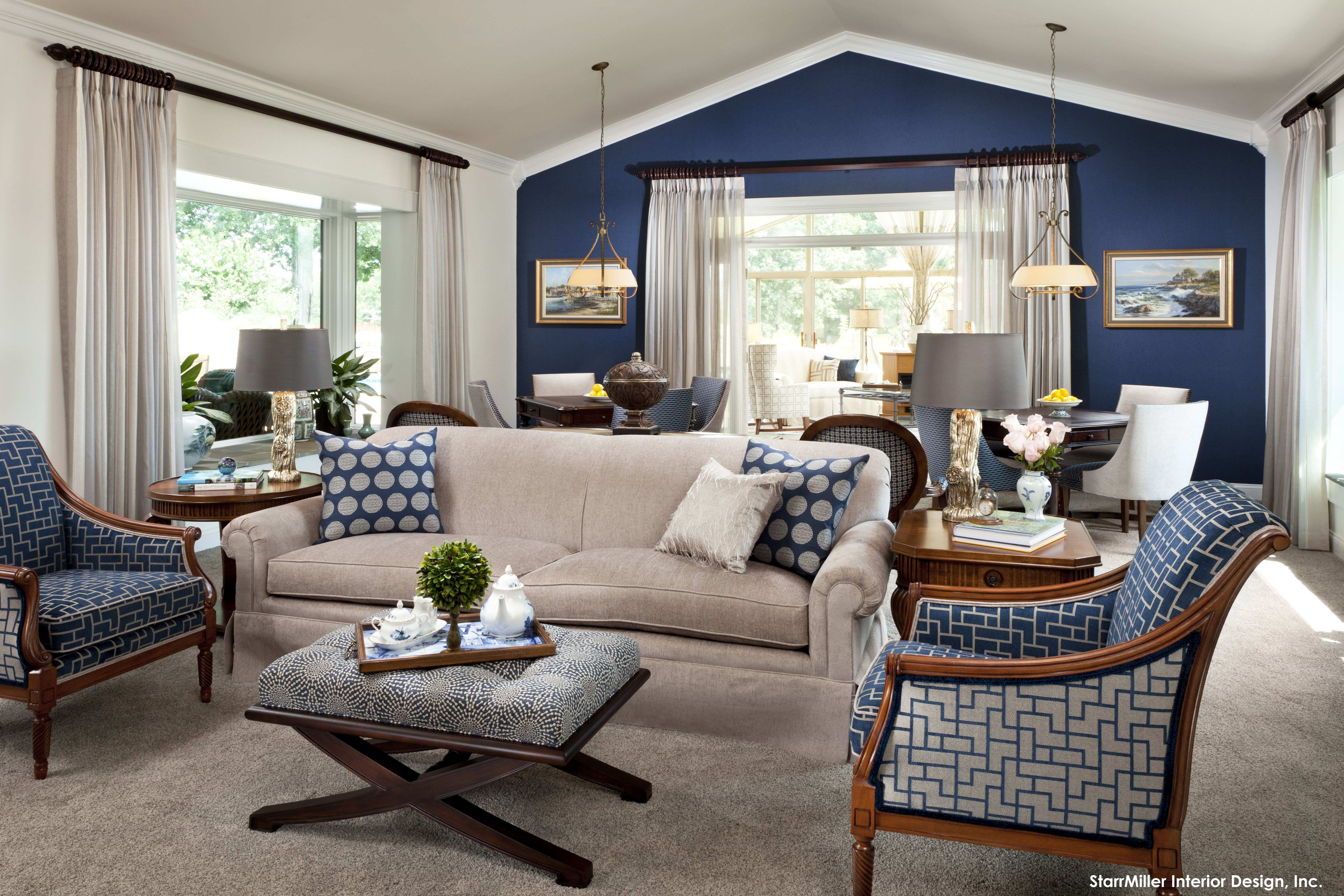 15 Lovely Living Room Designs with Blue Accents Pinterest