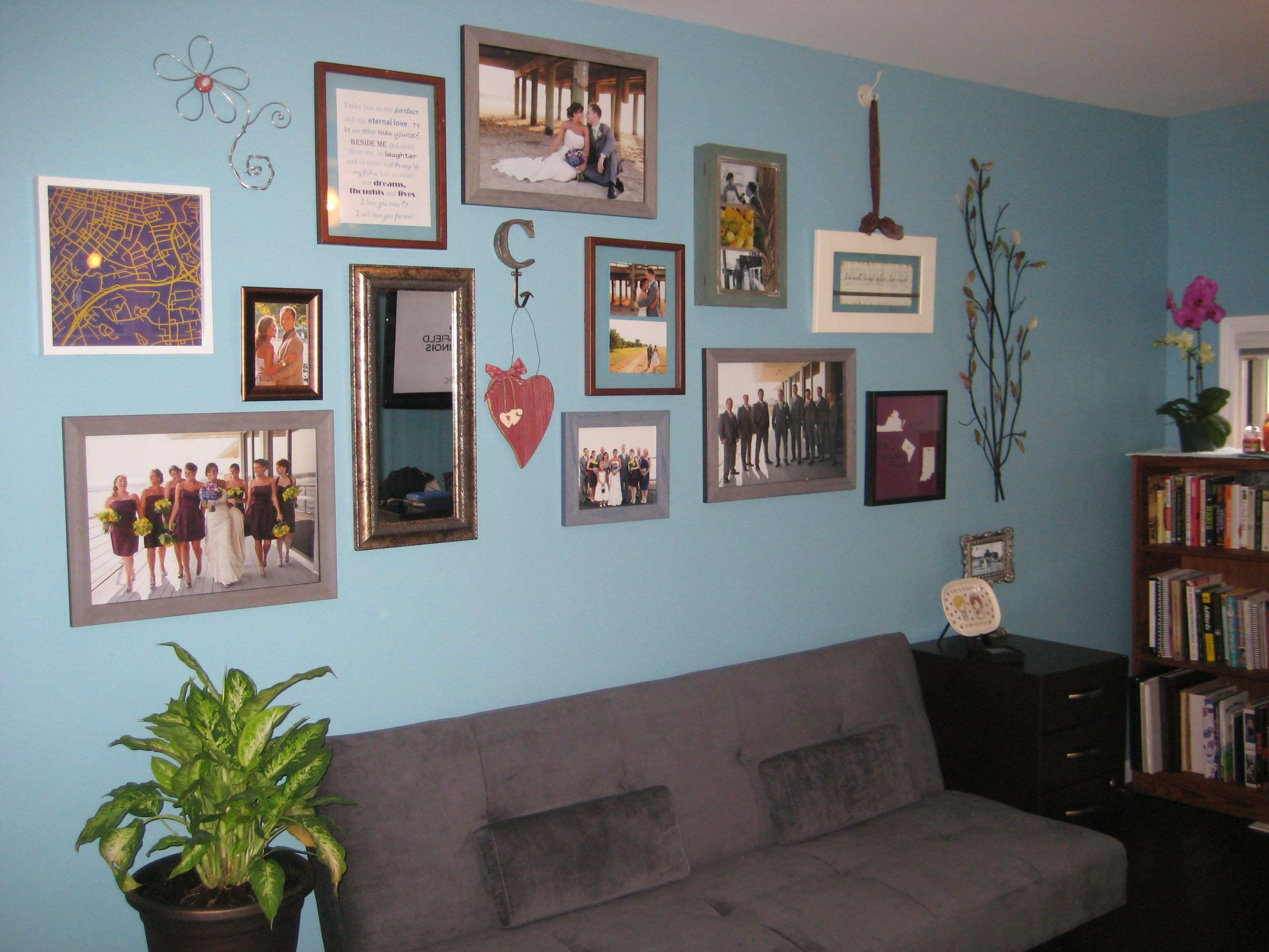 Wedding Collage Wall in the fice Blue and gray accents