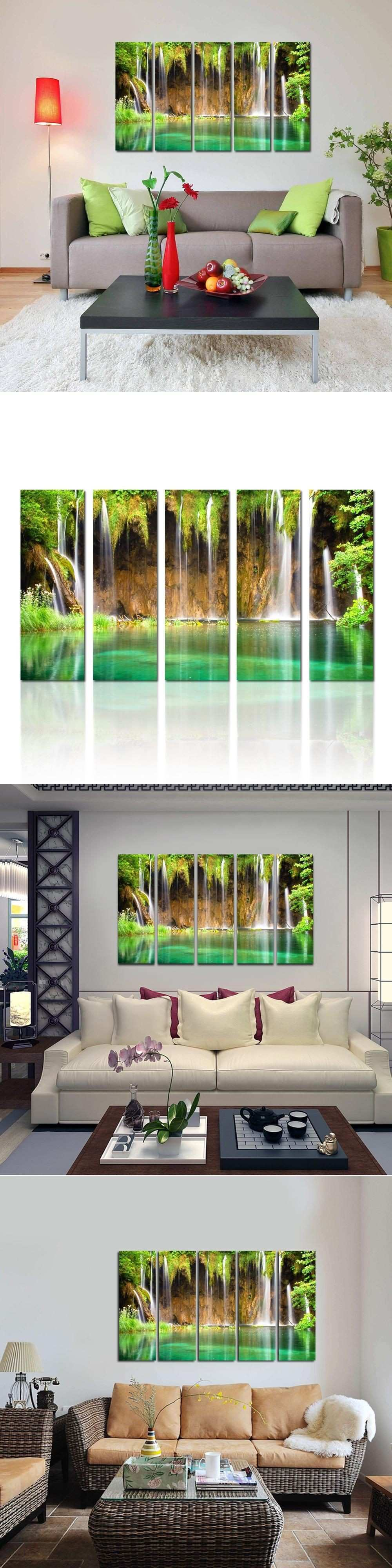 Nature Waterfall graphy Canvas Wall Art Landscape Canvas Set of