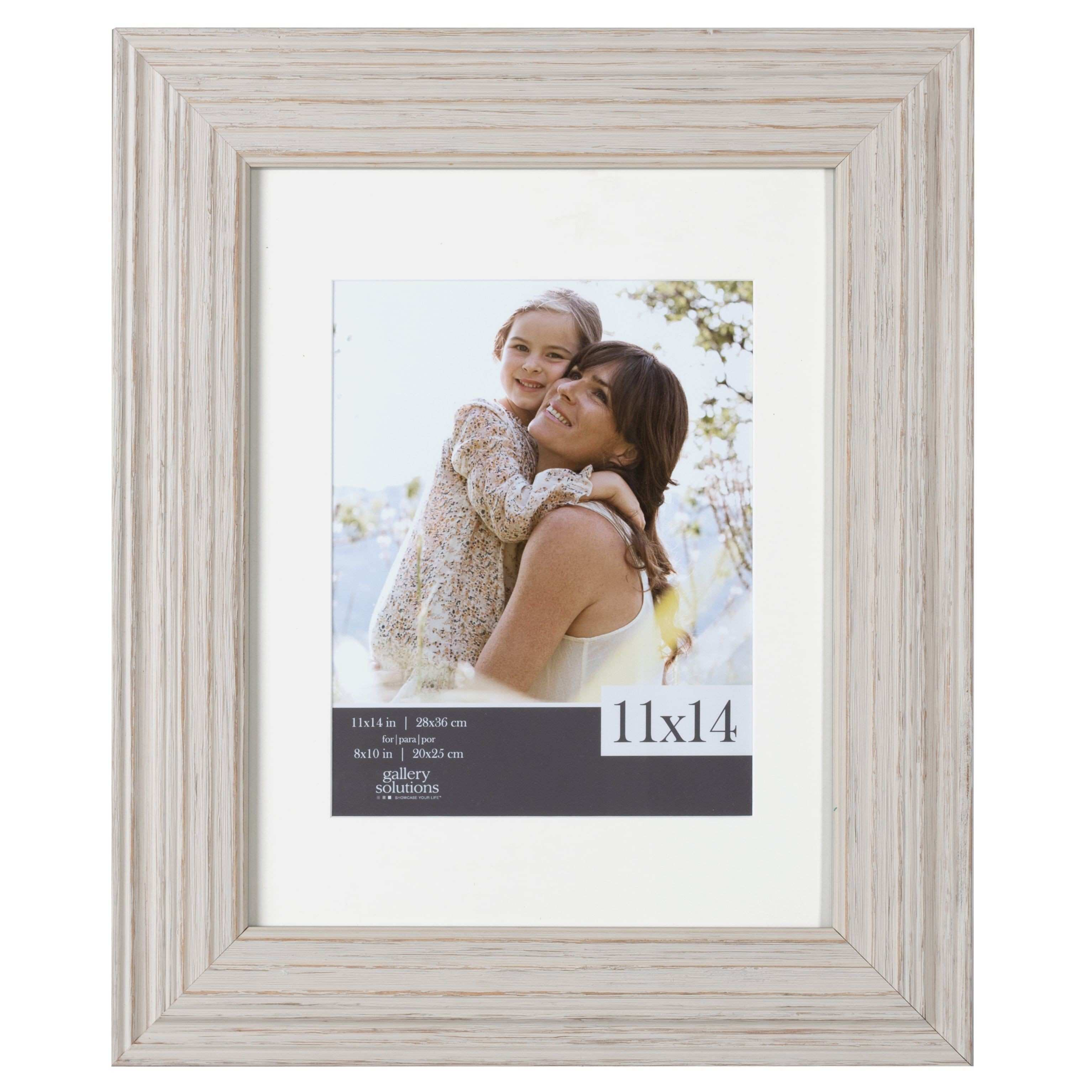Whitewashed Wood Wide Matted Gallery Frame 8x10 White