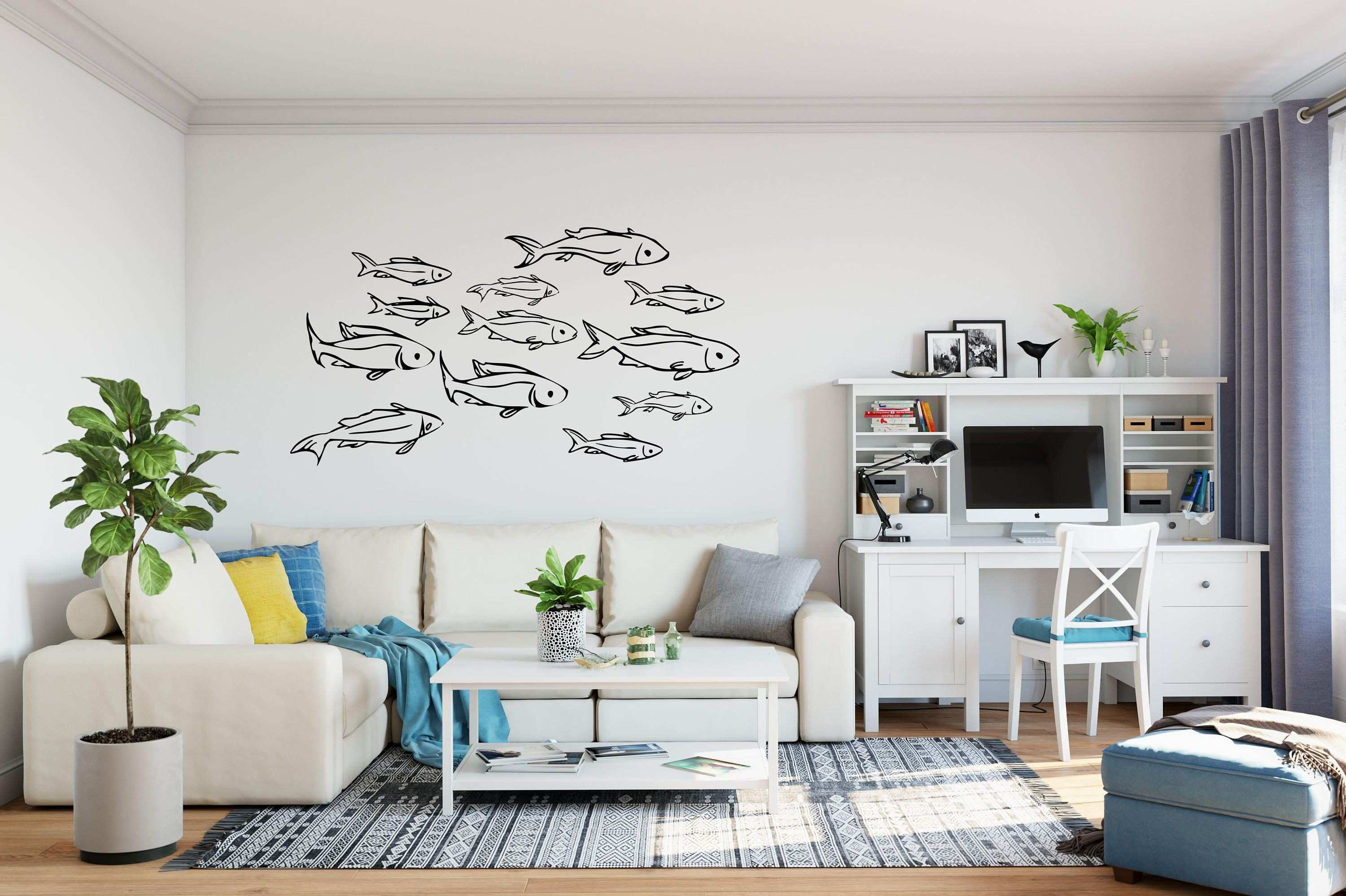 Wall Sayings Lovely School Of See Through Fish Decals On Removable Vinyl Decal Of