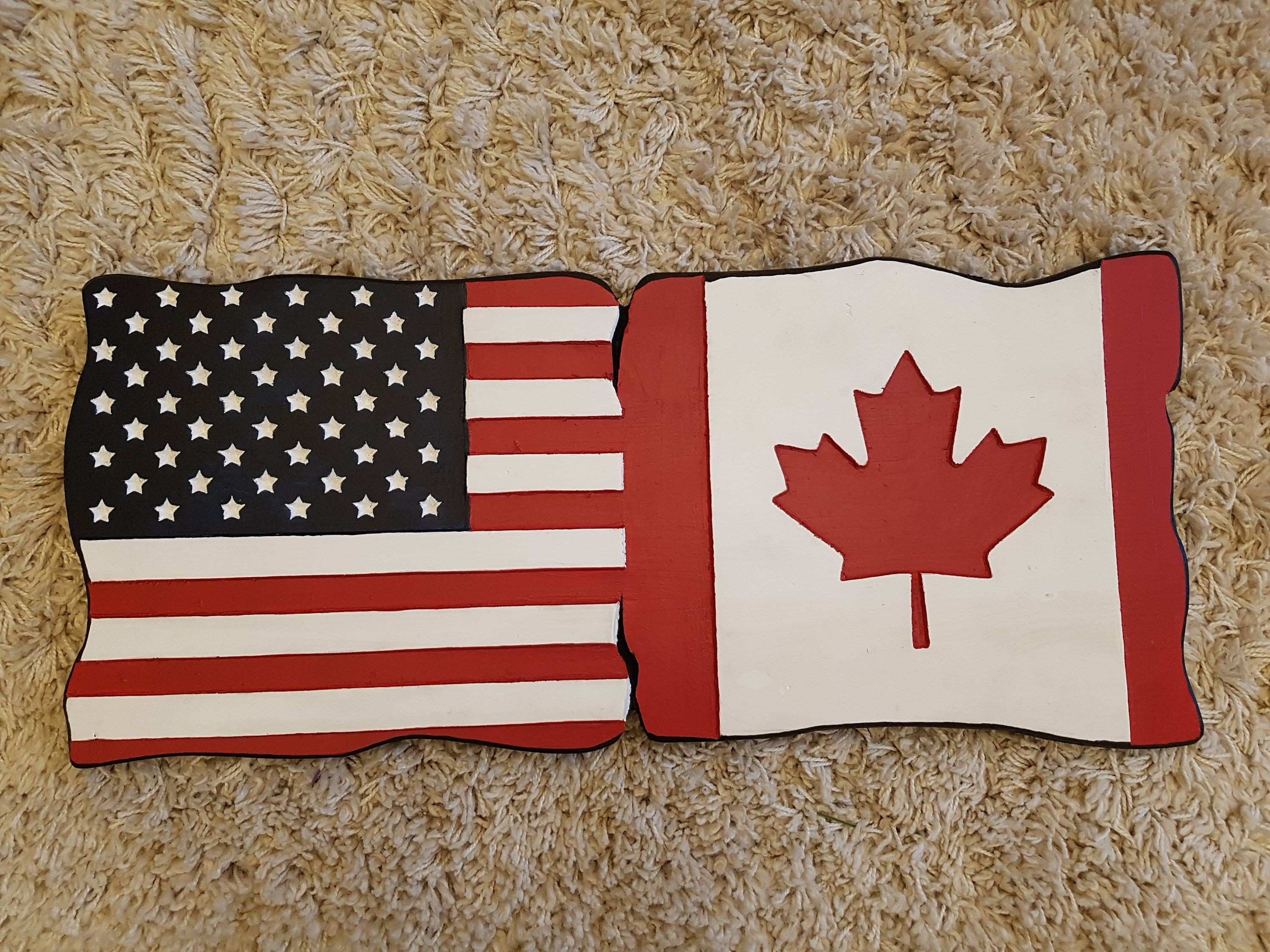 American Canadian flag Cottage house trailer sign rustic signs