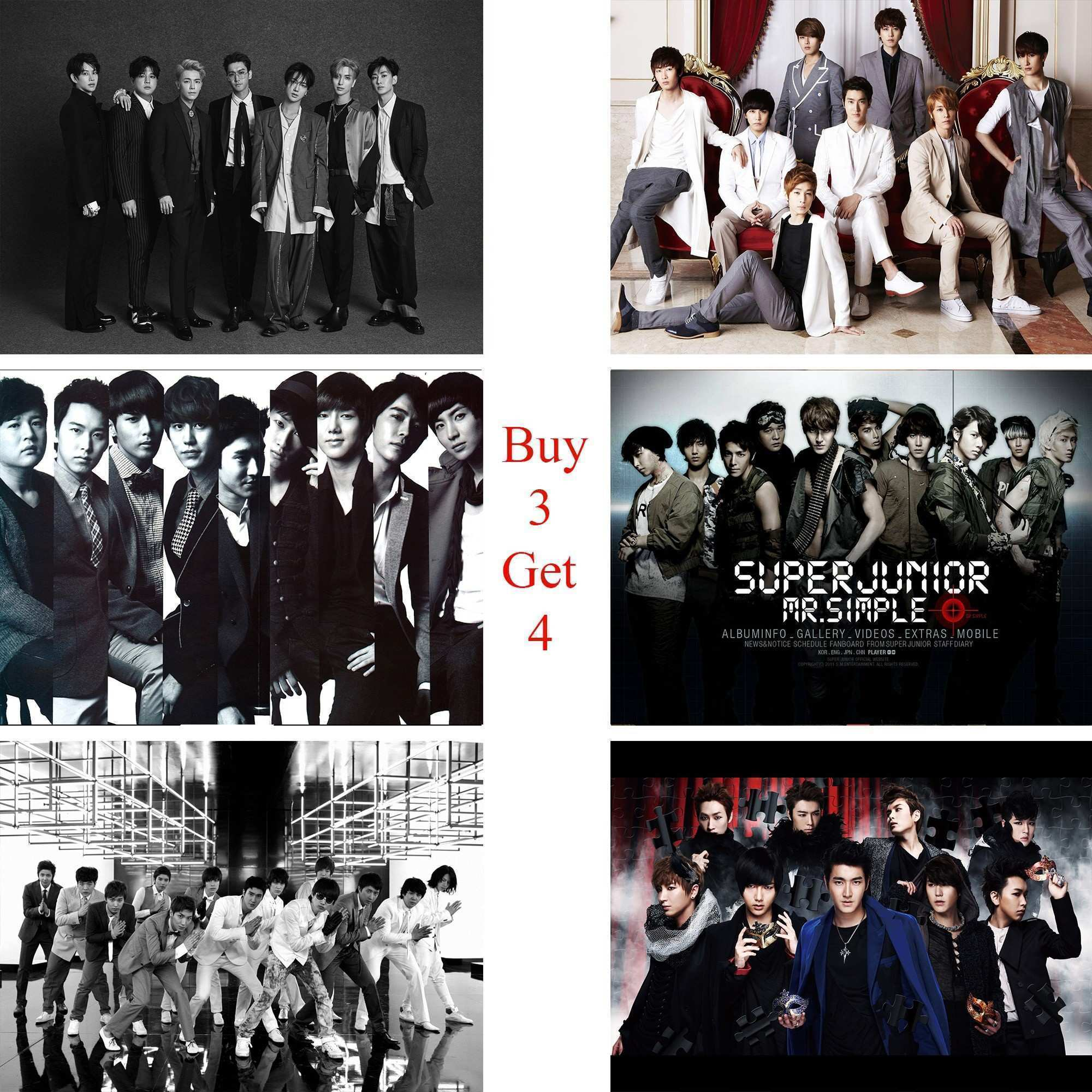 Super Junior Posters K POP Music Wall Stickers White Coated Paper