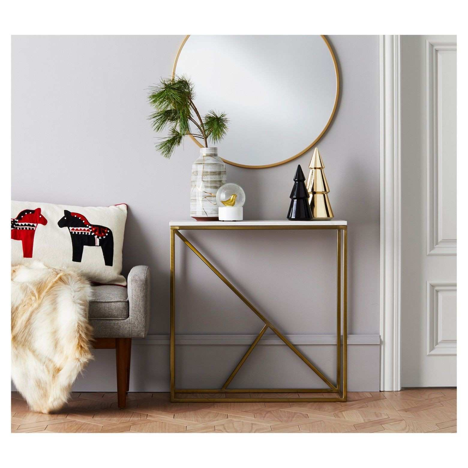 Project 62 Round Decorative Wall Mirror Brass