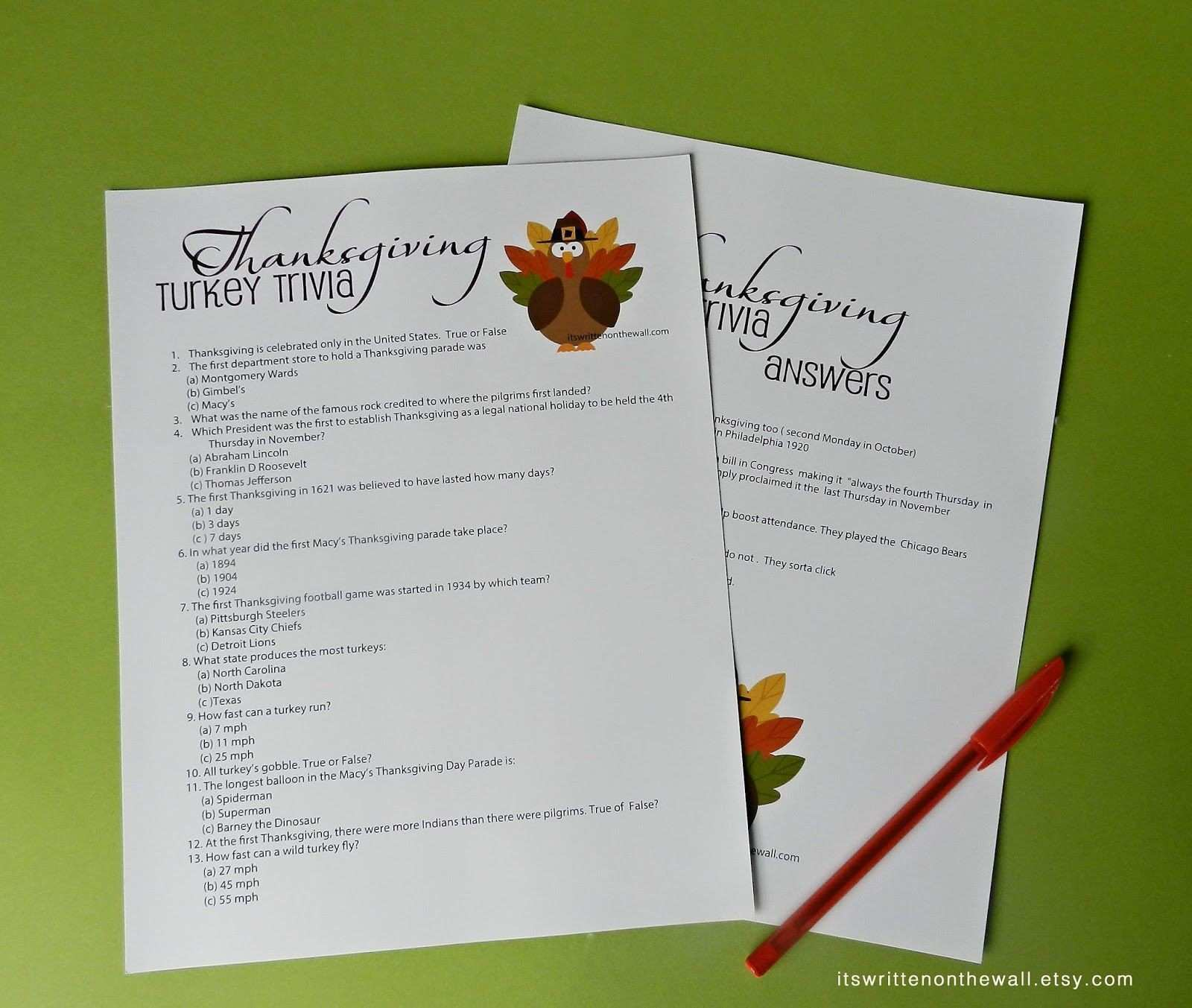 It s Written on the Wall Freebie Thanksgiving Turkey Trivia Sheet