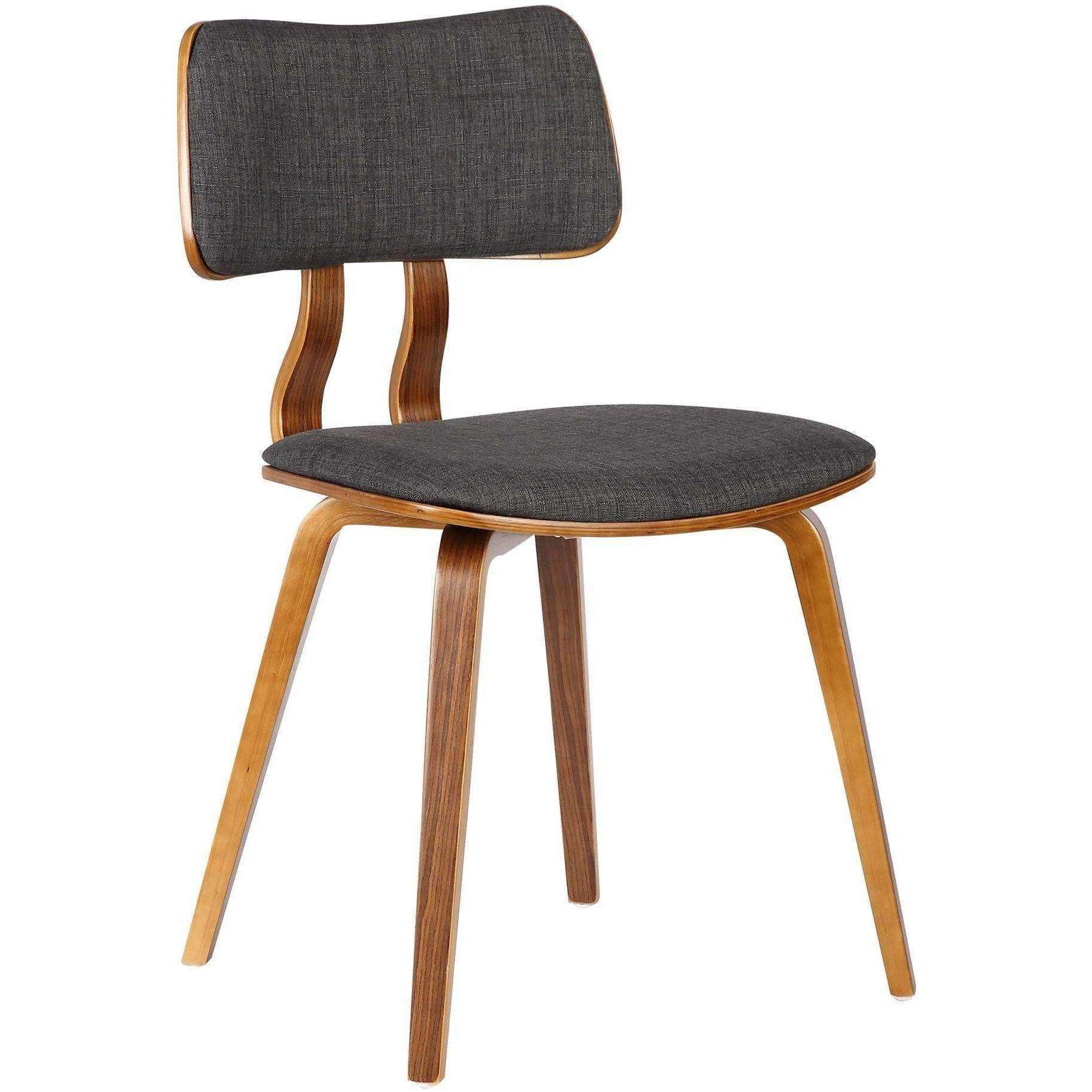 Armen Living Jaguar Mid Century Dining Chair in Walnut Wood and