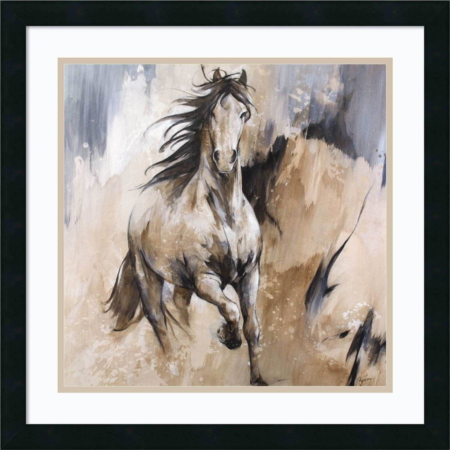 Framed Art Print Frison Horse by Cyril Reguerre 22 x 22 inch