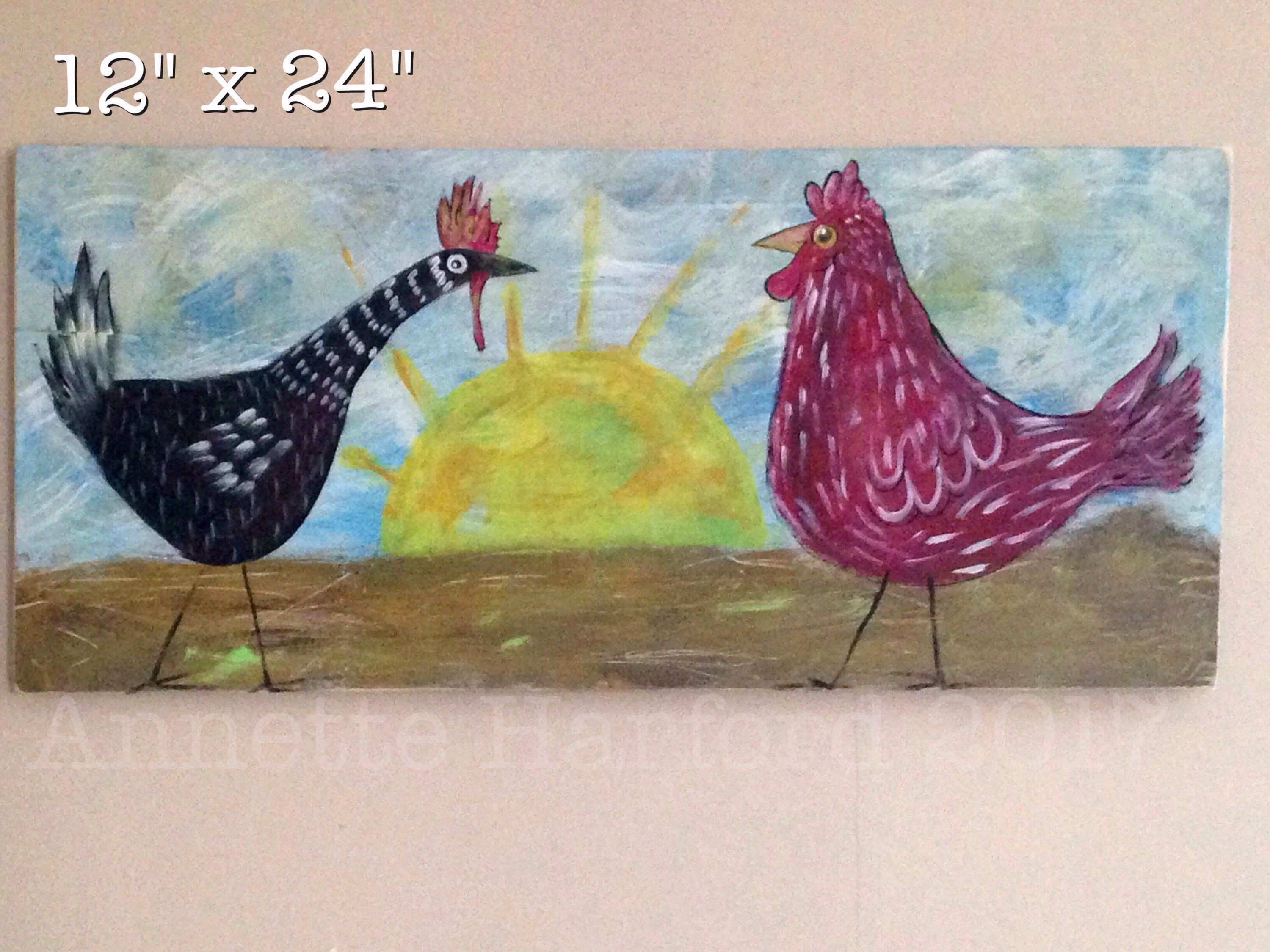 Chicken and rooster sunrise wall art farmhouse decor painting