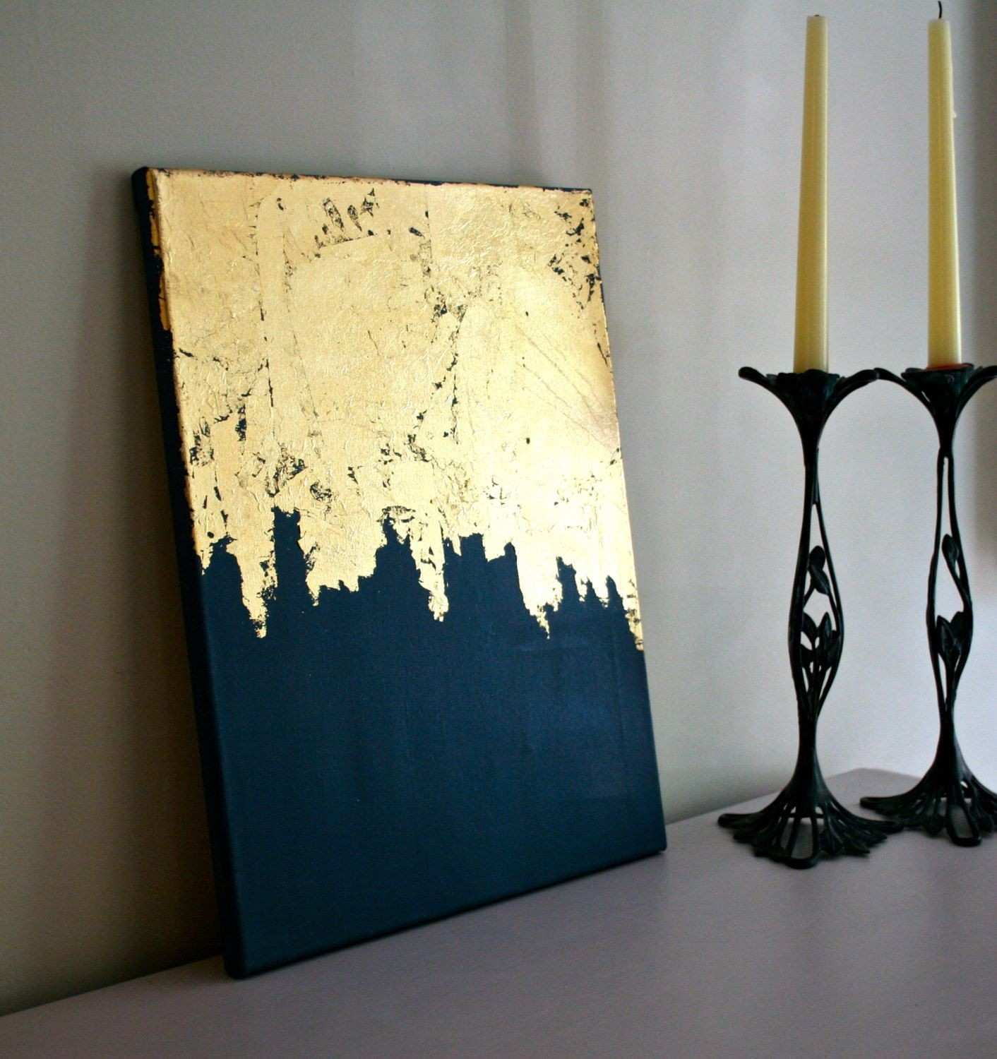 Midnight Gold Gold Leaf Painting Modern Art