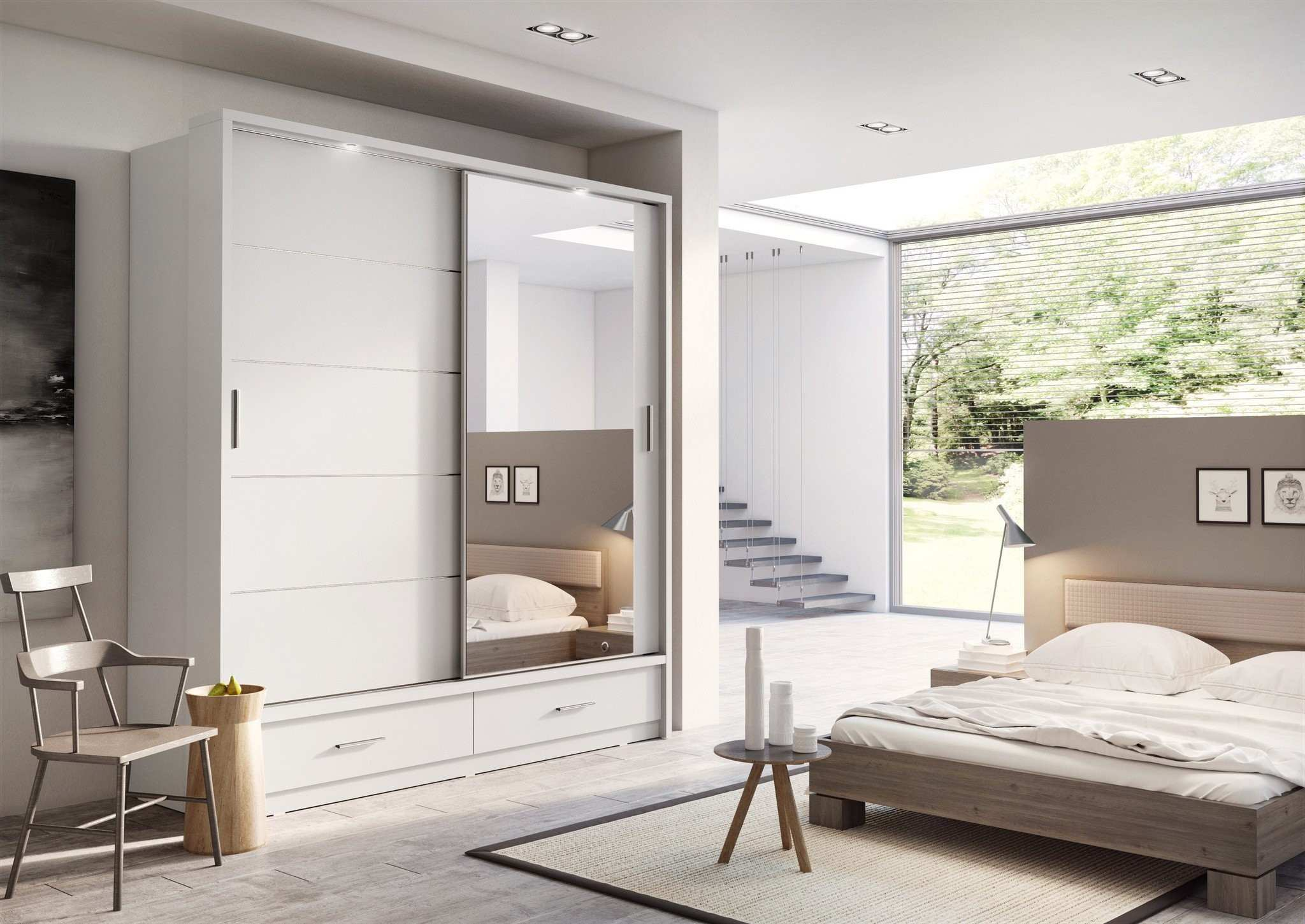 1000 y Wardrobe White Sliding Mirror Malone Door Loading Zoomi