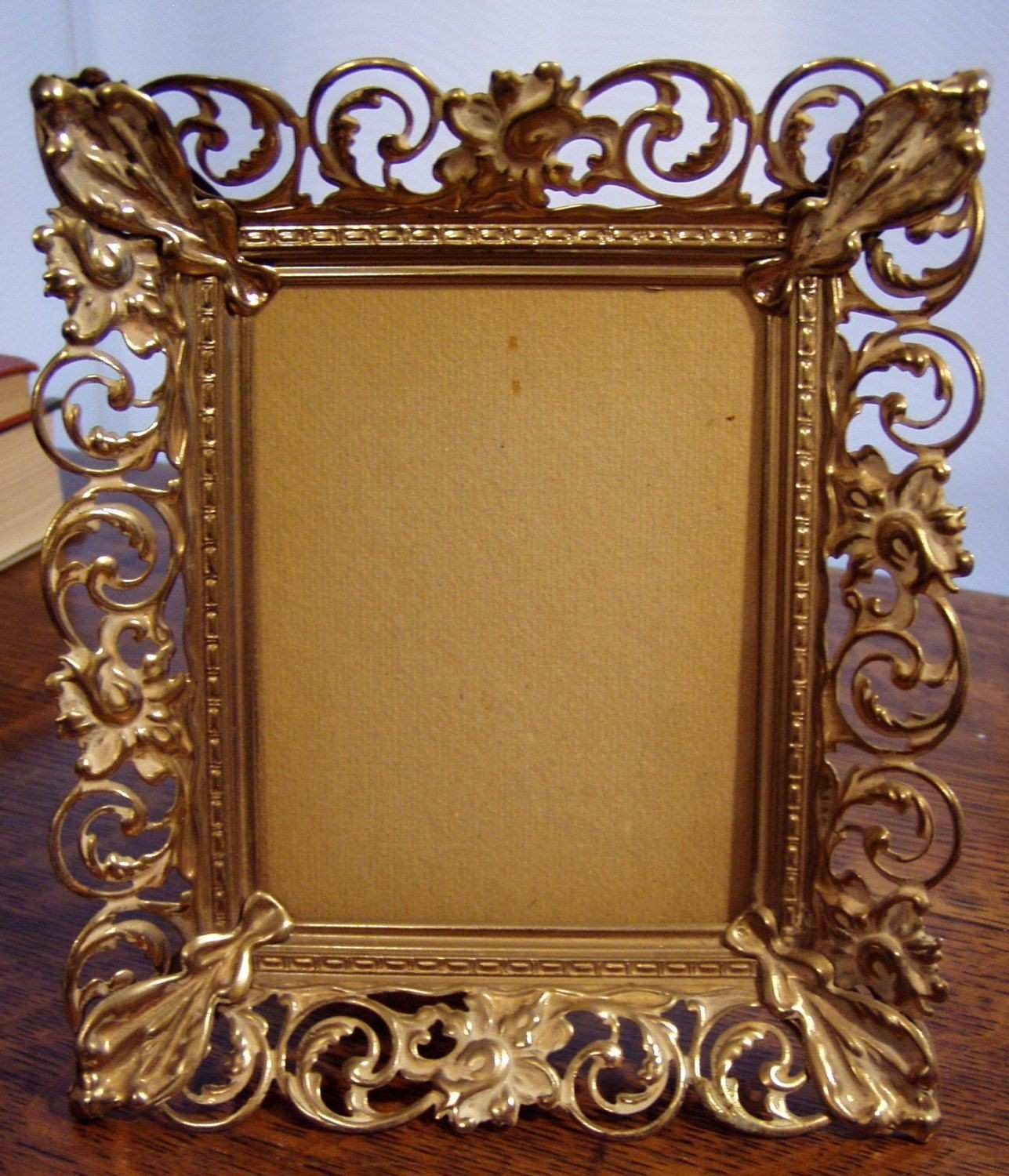 3 12 by 4 1 2 Inch Metal Filigree Frame with White Wash detail by