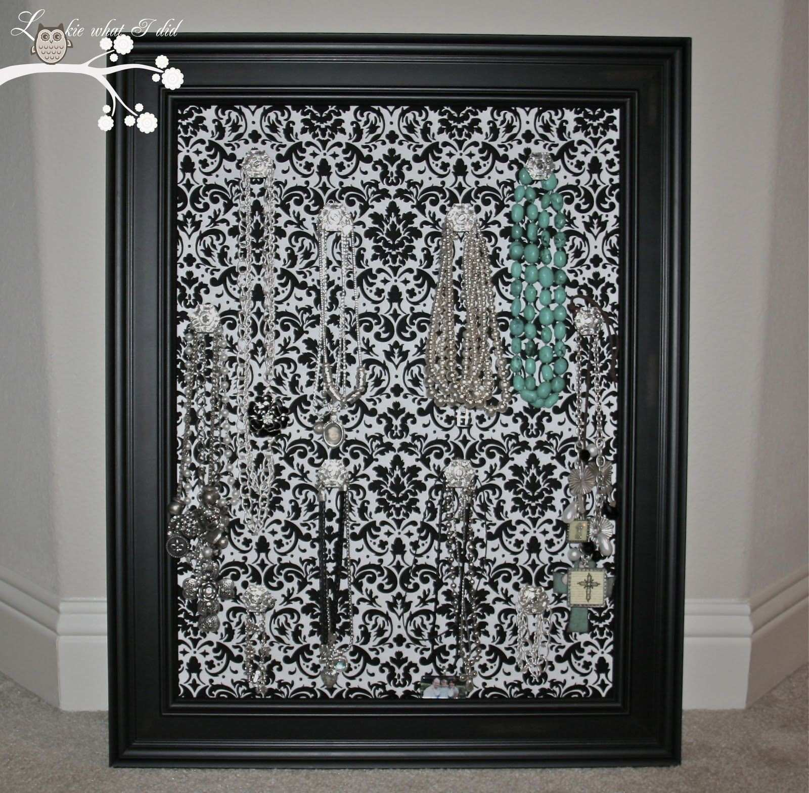 Lookie What I Did Black and White Damask Jewelry Frame