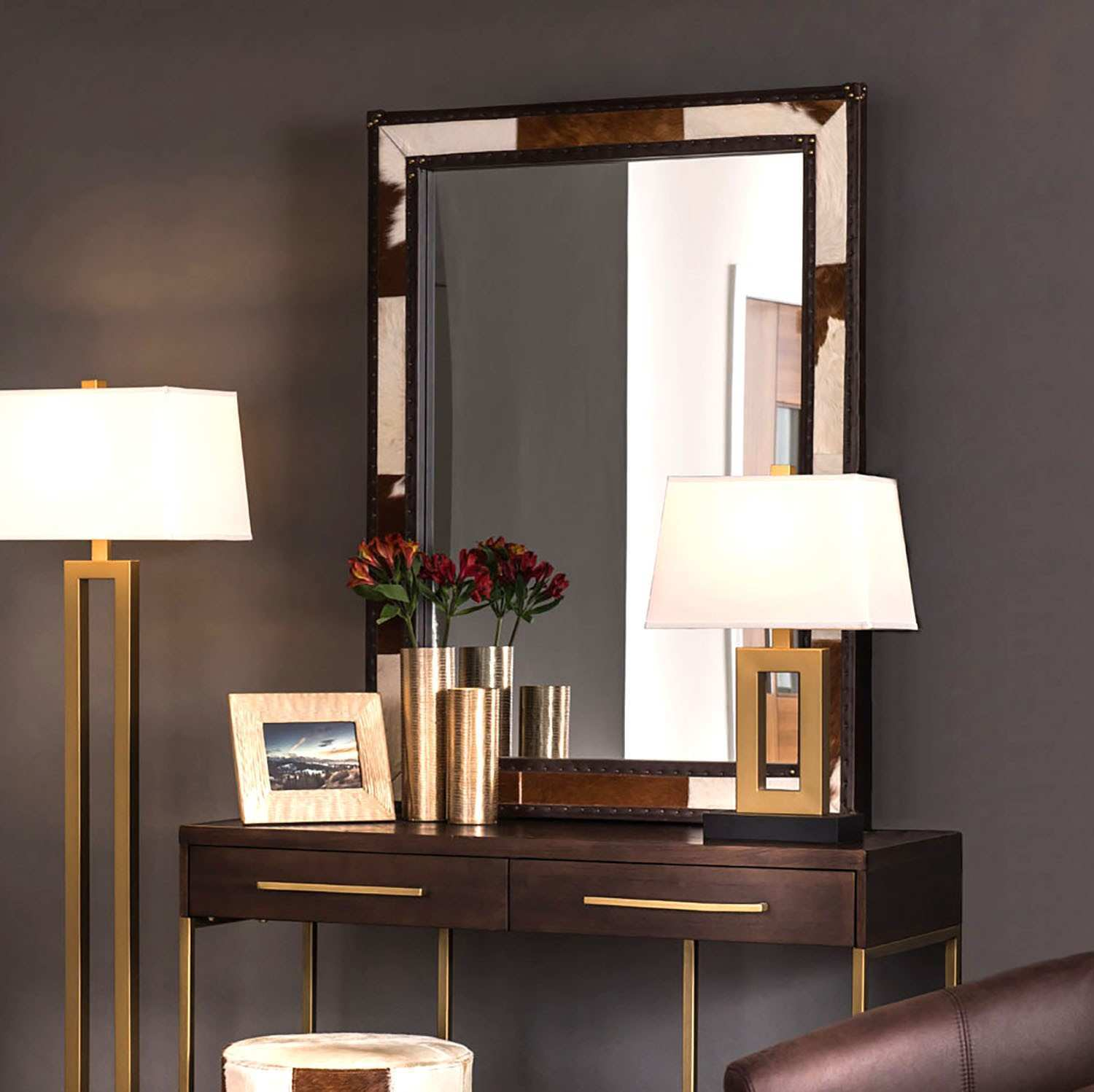 Fifty Five South Kensington Townhouse 120x90cm Wall Mirror in Brown