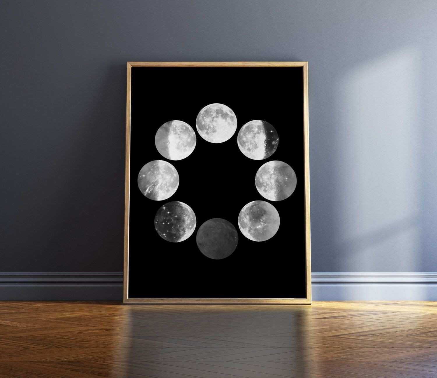 Moon Phases Print Black And White Print Moon Phase Wall Art Poster