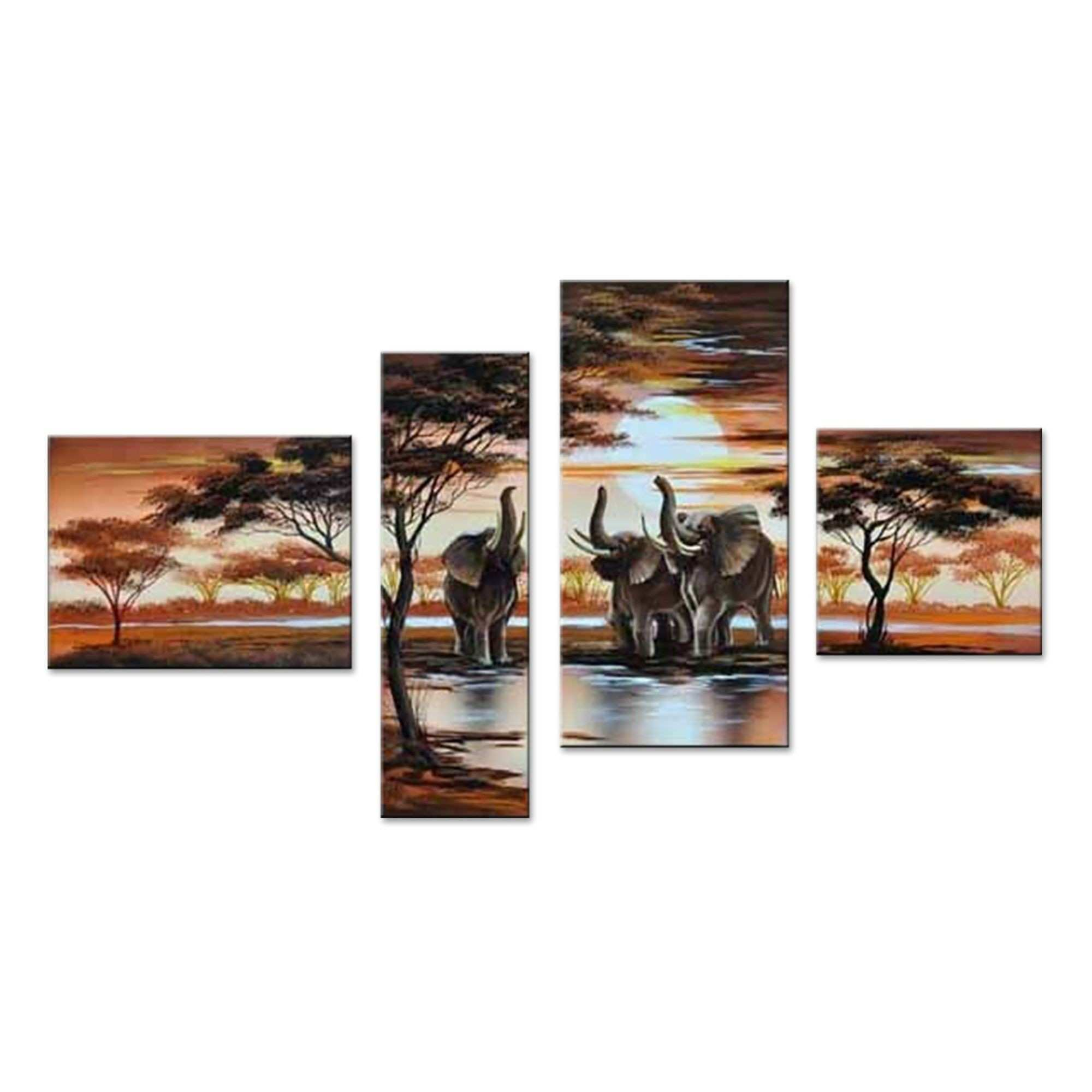 Elephants of the Jungle Landscape Canvas Wall Art Oil Painting