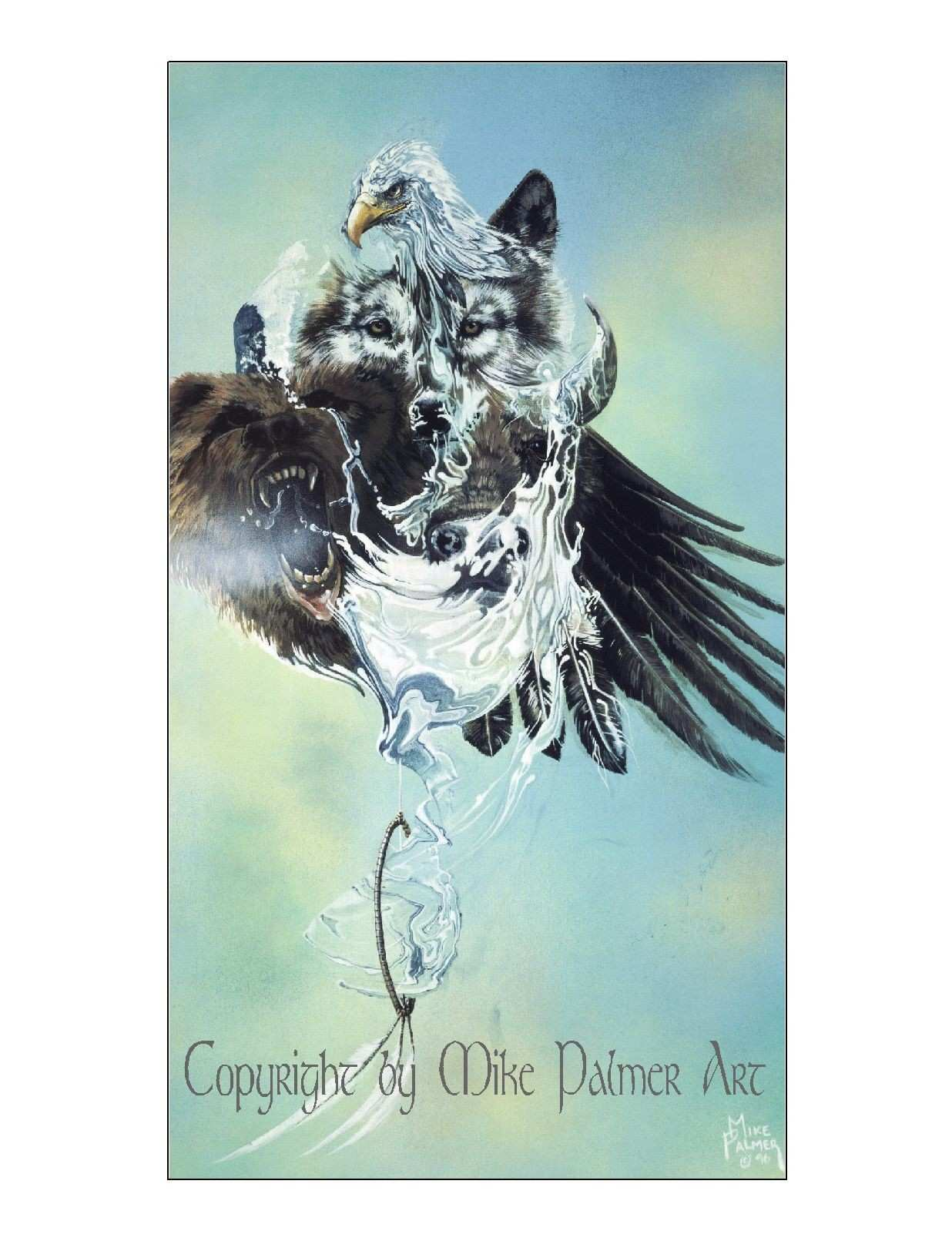 Giclee or Canvas Print by Mike Palmer Wildlife Art Wolves Eagle