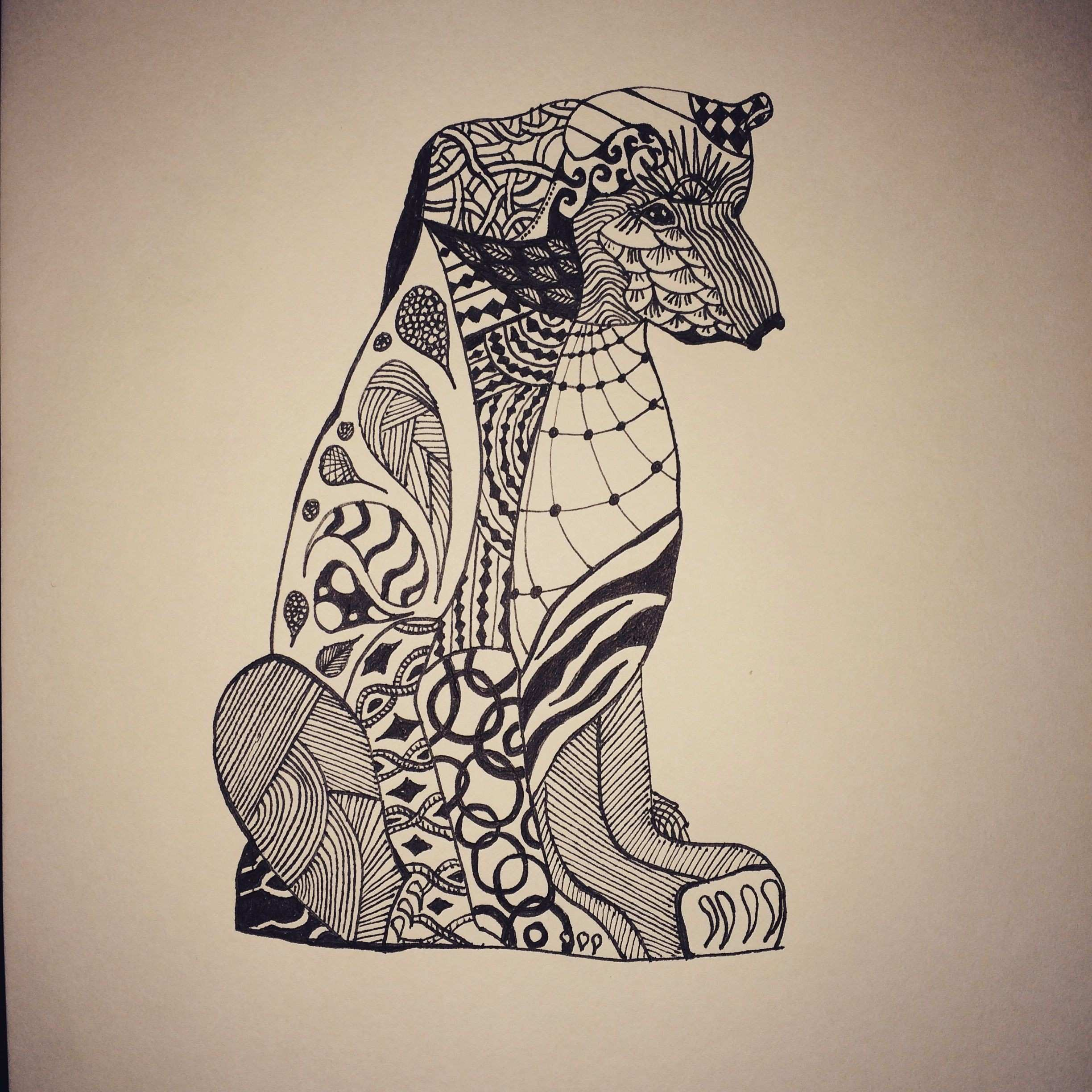 Fun geometric bear print Created with fine tip black pen For more